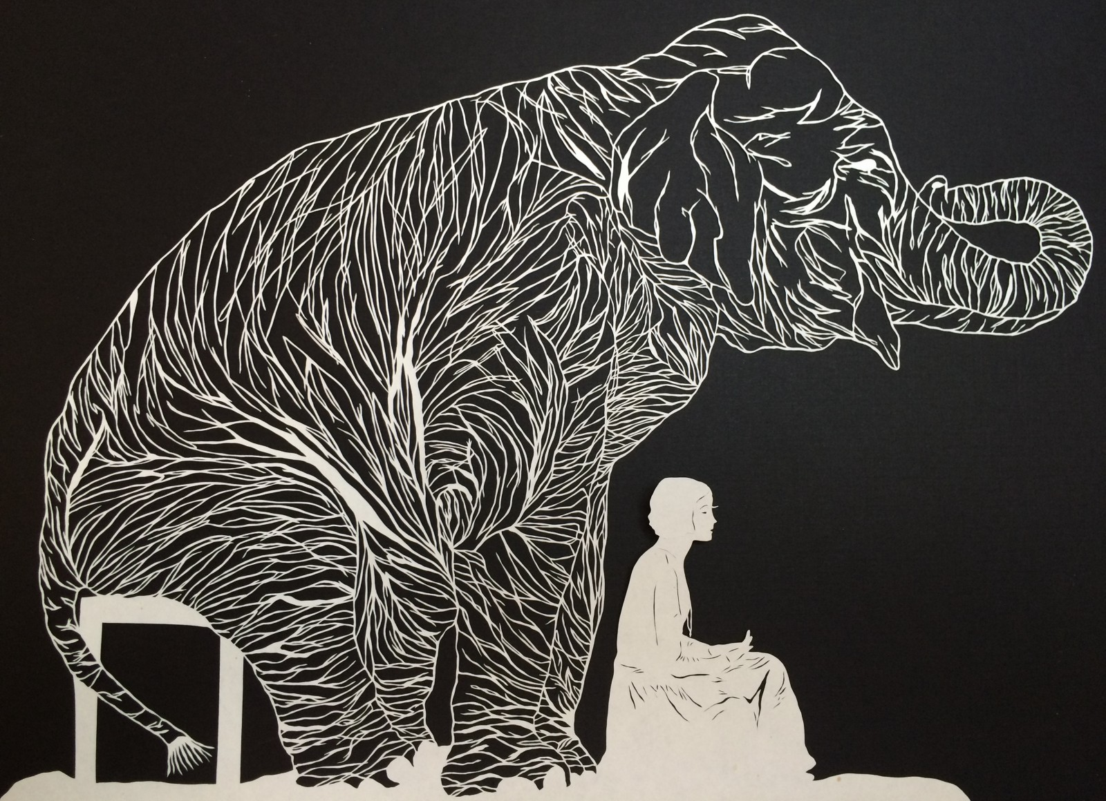 'Remember and Forgive,' a cut-paper piece by Maude White, is on view through Sept. 4 in Buffalo Arts Studio.