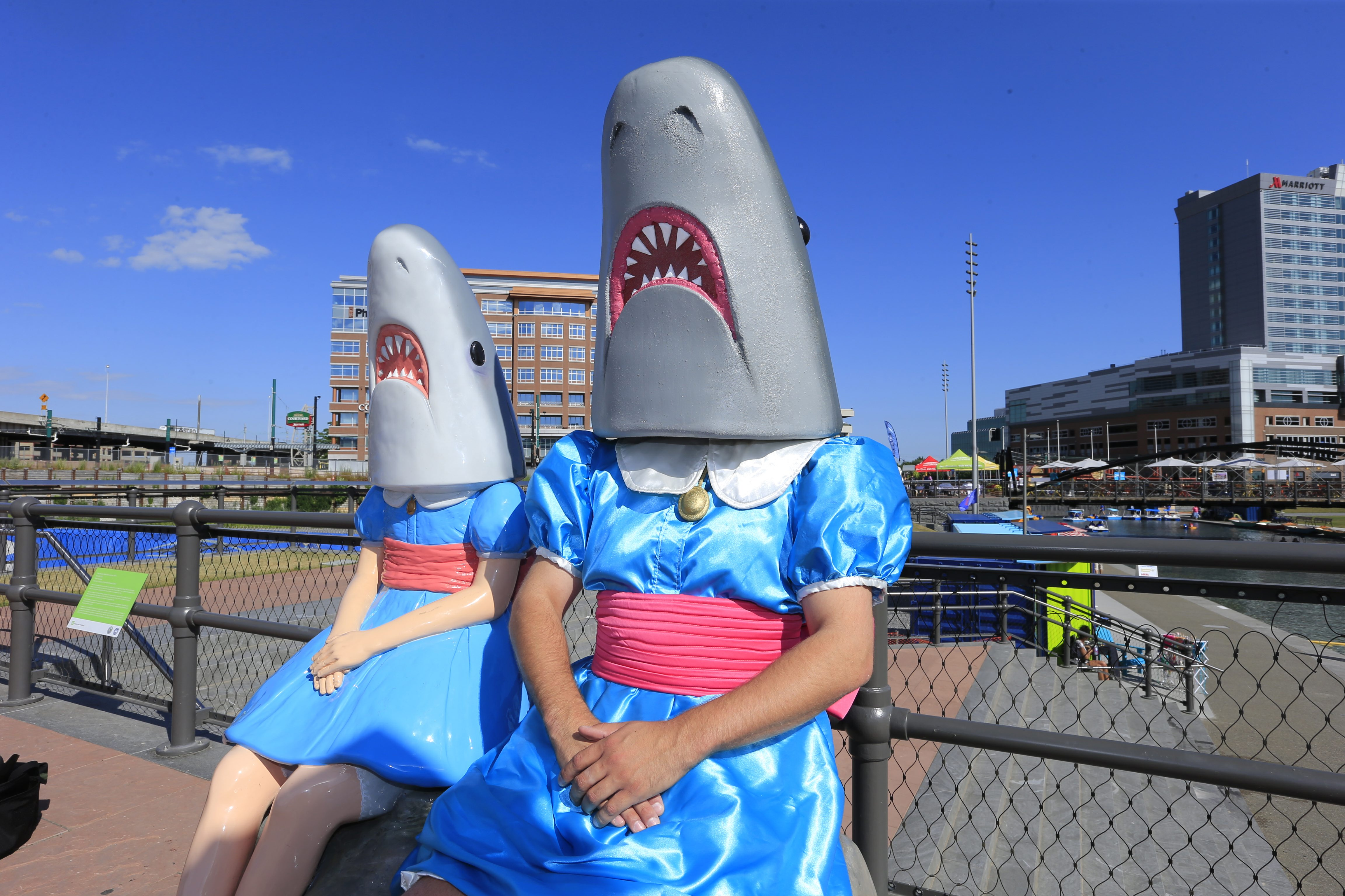 Adam Kreutinger teaches art at St. Mark School. He designed his own Shark Girl costume to teach his class.