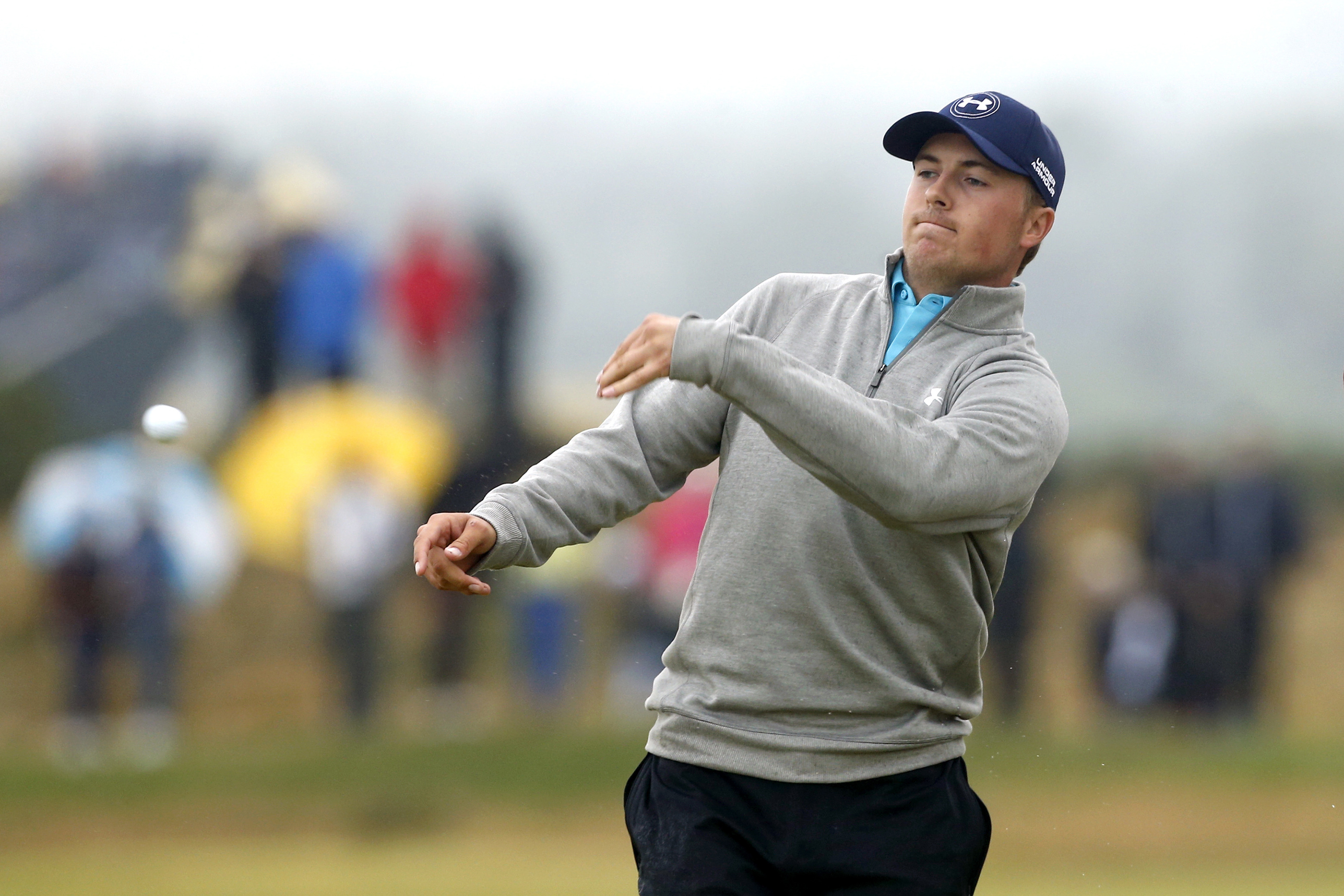 Jordan Spieth reacts to his double bogey on the eighth hole during Monday's final round of the British Open. Spieth finished one stroke out of the three-man playoff won by Zach Johnson.