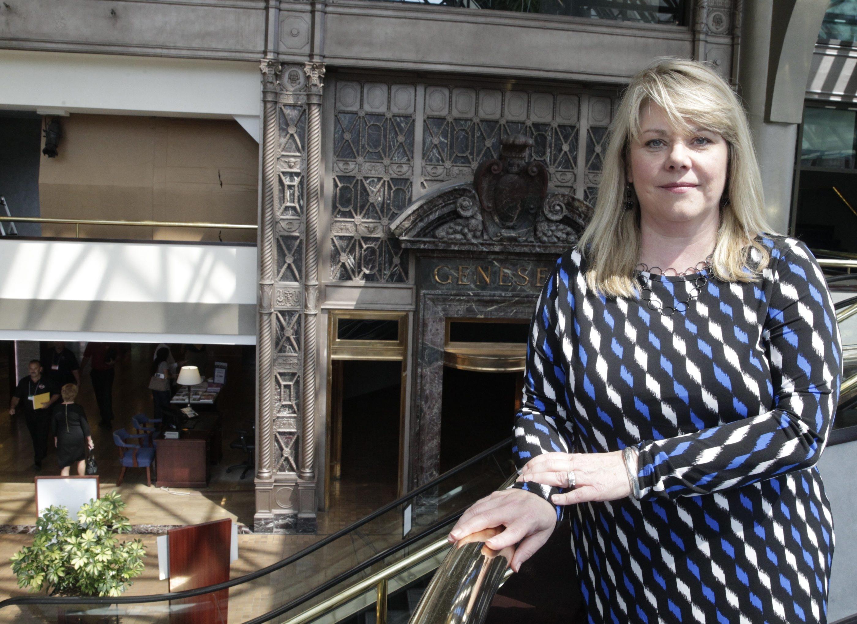 The Buffalo Niagara Partnership's President & CEO, Dottie Gallagher-Cohen at Hyatt Regency in Buffalo, N.Y., on Thursday, June 18, 2015 after a presentation by Solar City. (John Hickey/Buffalo News)