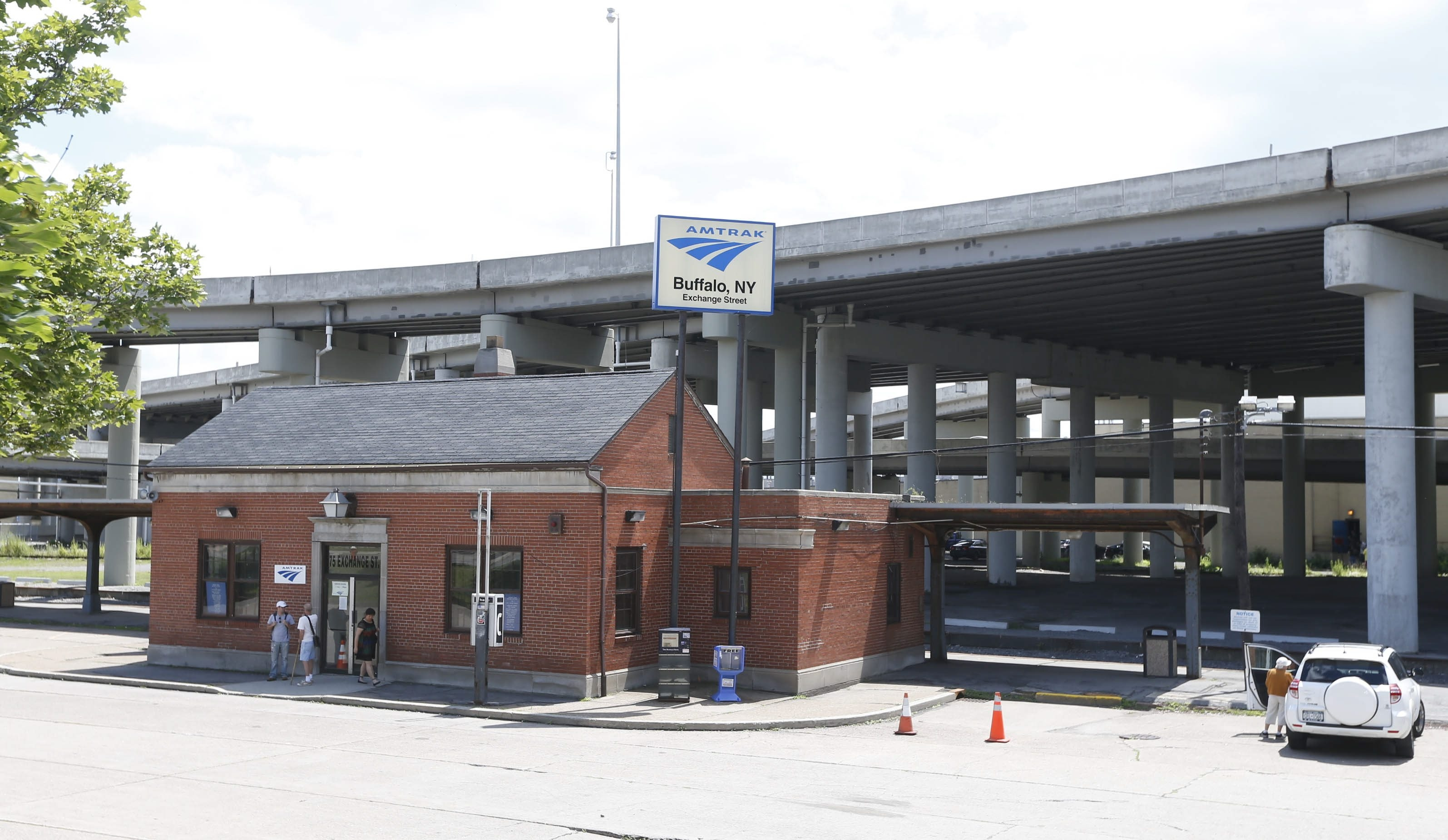 Amtrak's tiny downtown depot in the shadow of the Niagara Thruway masquerades as a real train station.