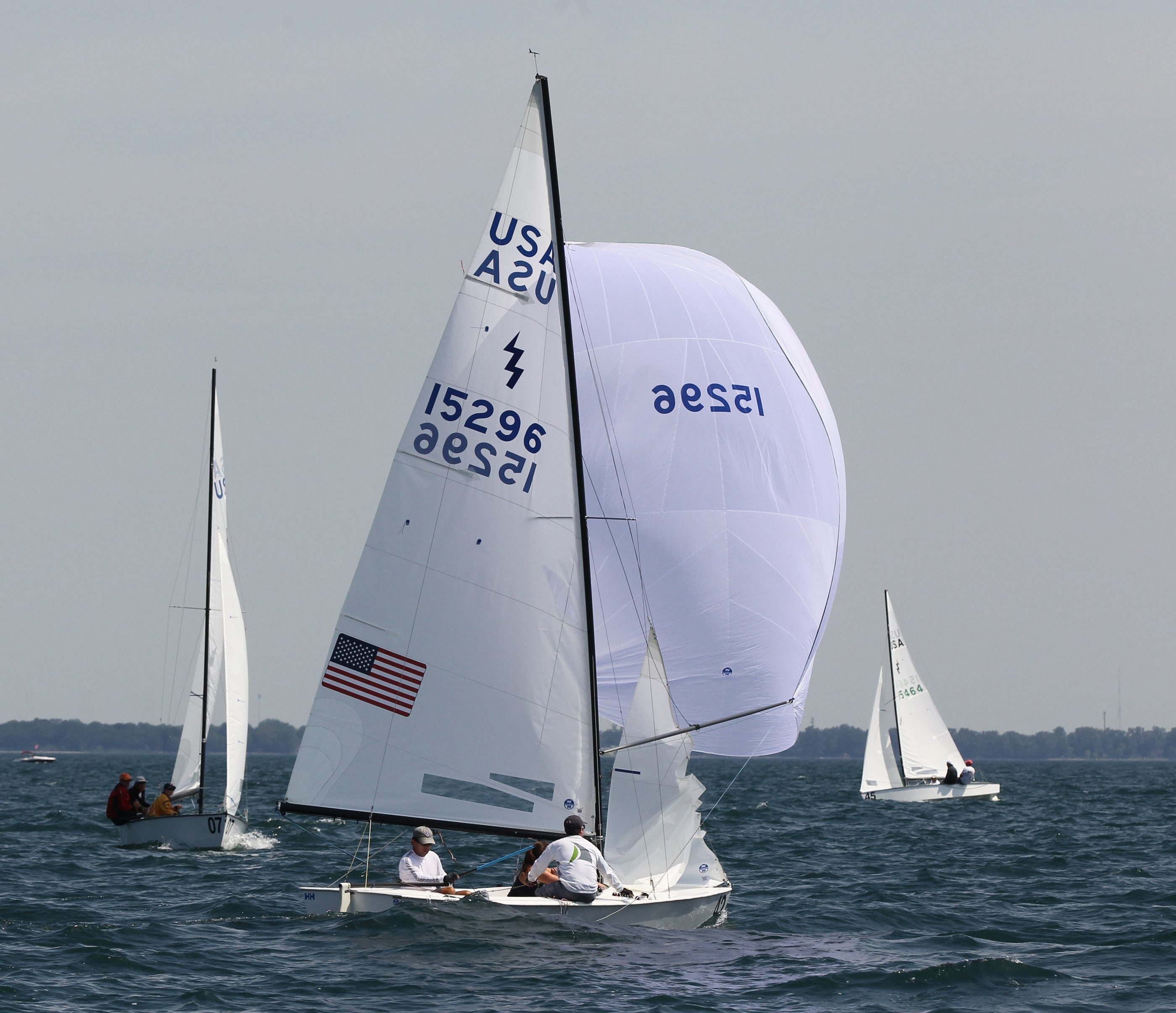 Geoff Becker (front) won the 2015 World Championship Lightning Class title on Saturday. The weeklong regatta was staged by the Buffalo Canoe Club.
