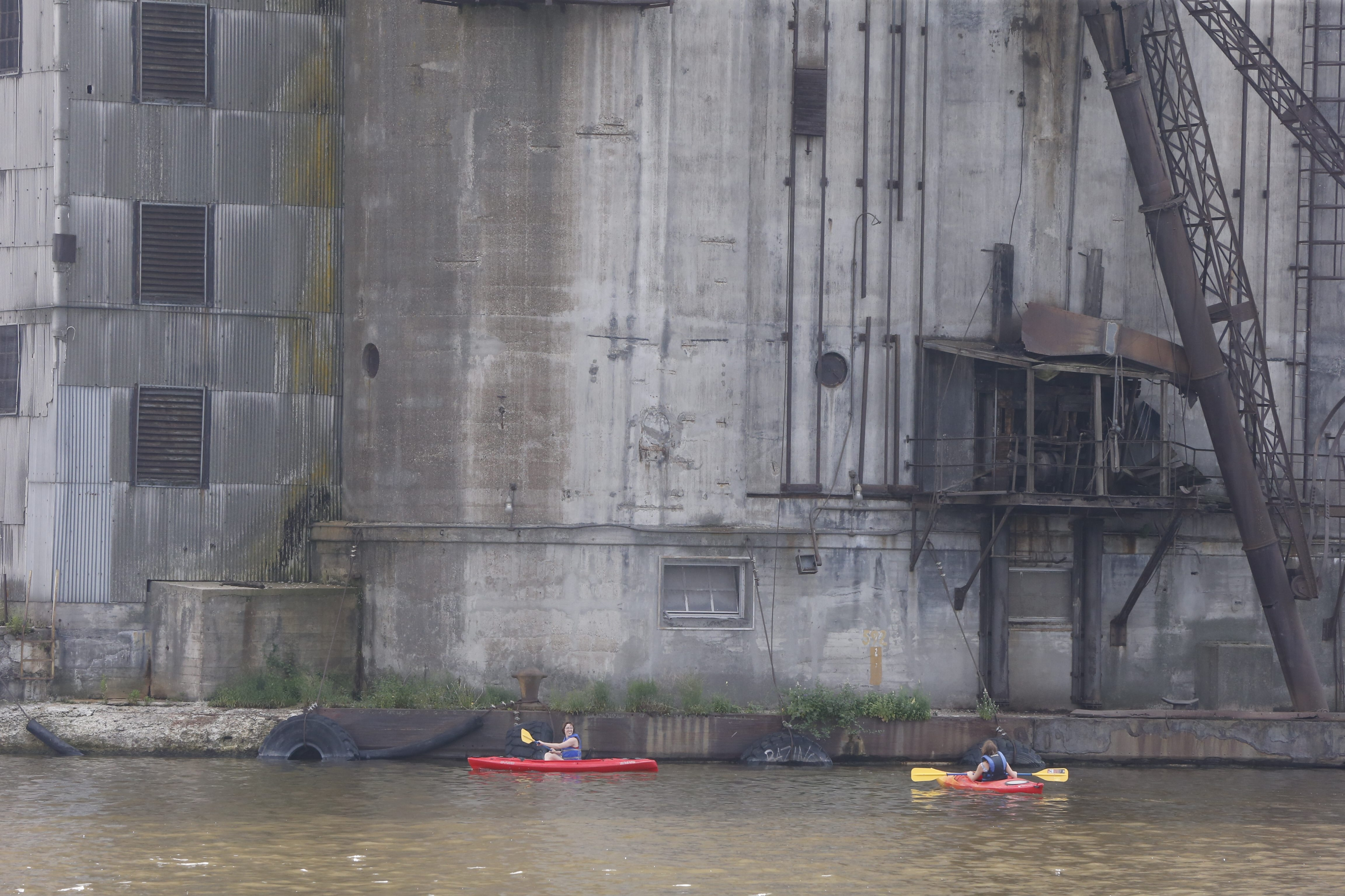 WNYers kayak and Canoe in the Buffalo River on Saturday, July 18, 2015.  (Harry Scull Jr / Buffalo News)