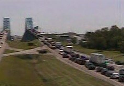 Image from a NITTEC camera shows the traffic backup at the southbound lanes of the South Grand Island Bridge Monday.