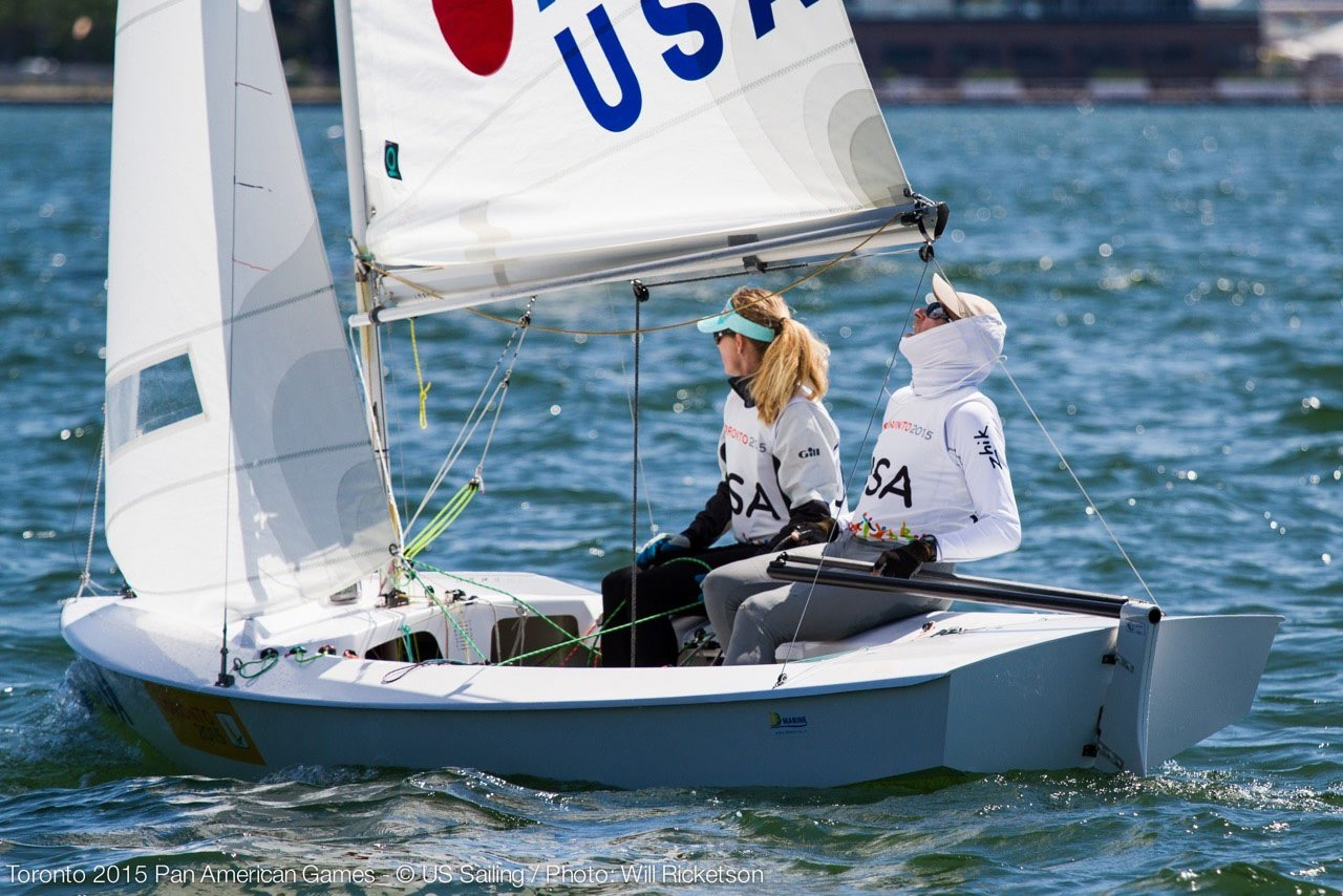 Kathleen Tocke, left, and skipper Augie Diaz won the bronze at the Pan American Games in Toronto.
