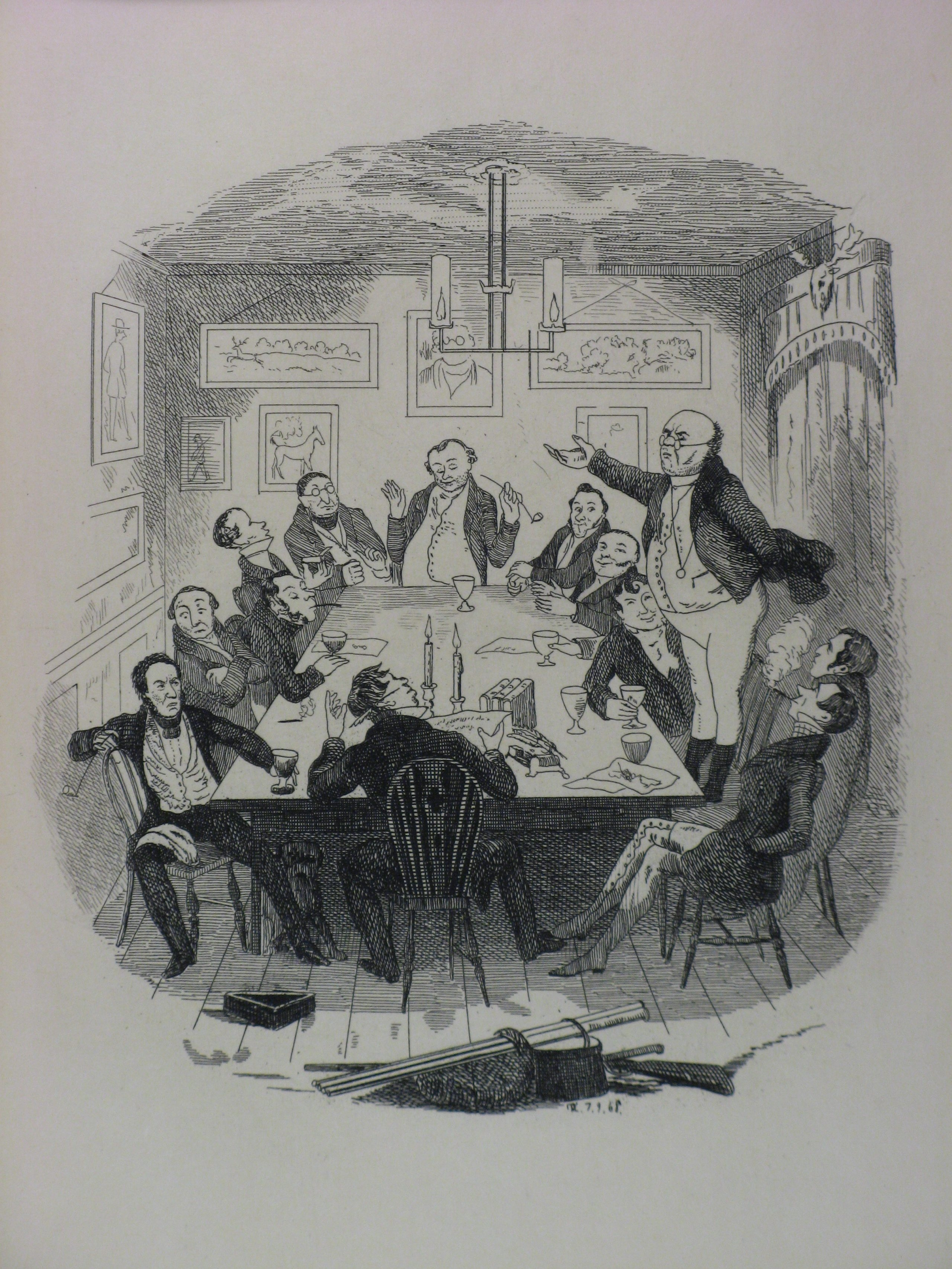 "Robert Seymour illustration, ""Mr. Pickwick addresses the club,"" from ""The Writings of Charles Dickens Volume 1, The Pickwick Club."""