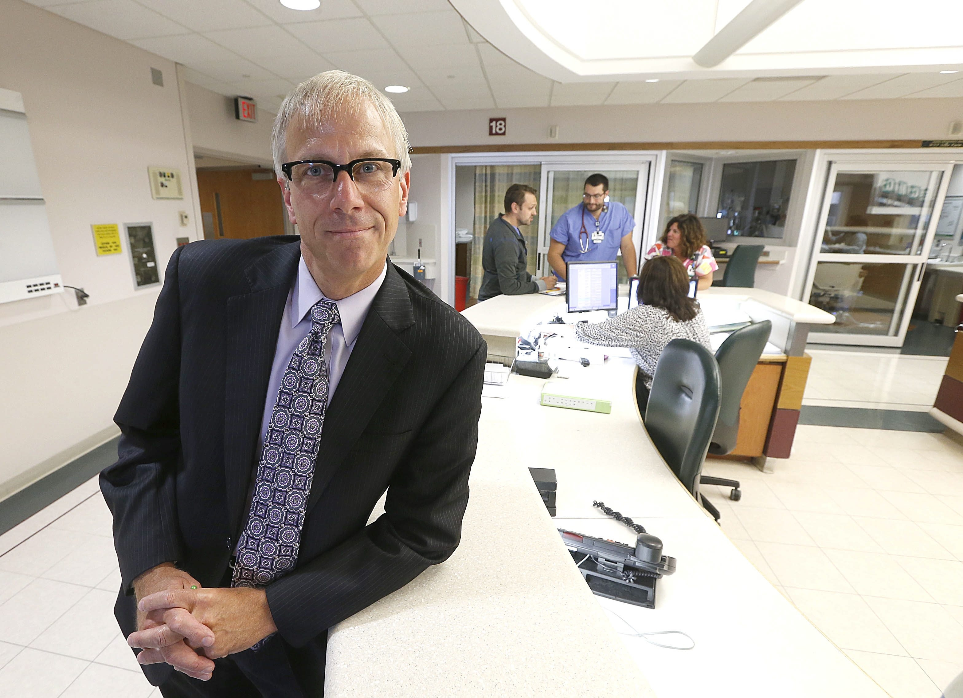 "Stopping by to visit the trauma center, Richard Cleland, CEO of ECMC, spends about four hours a week working along side people in all departments of the hospital, including a Saturday morning stint in the emergency room. His takeaway from that: ""It's amazing."""