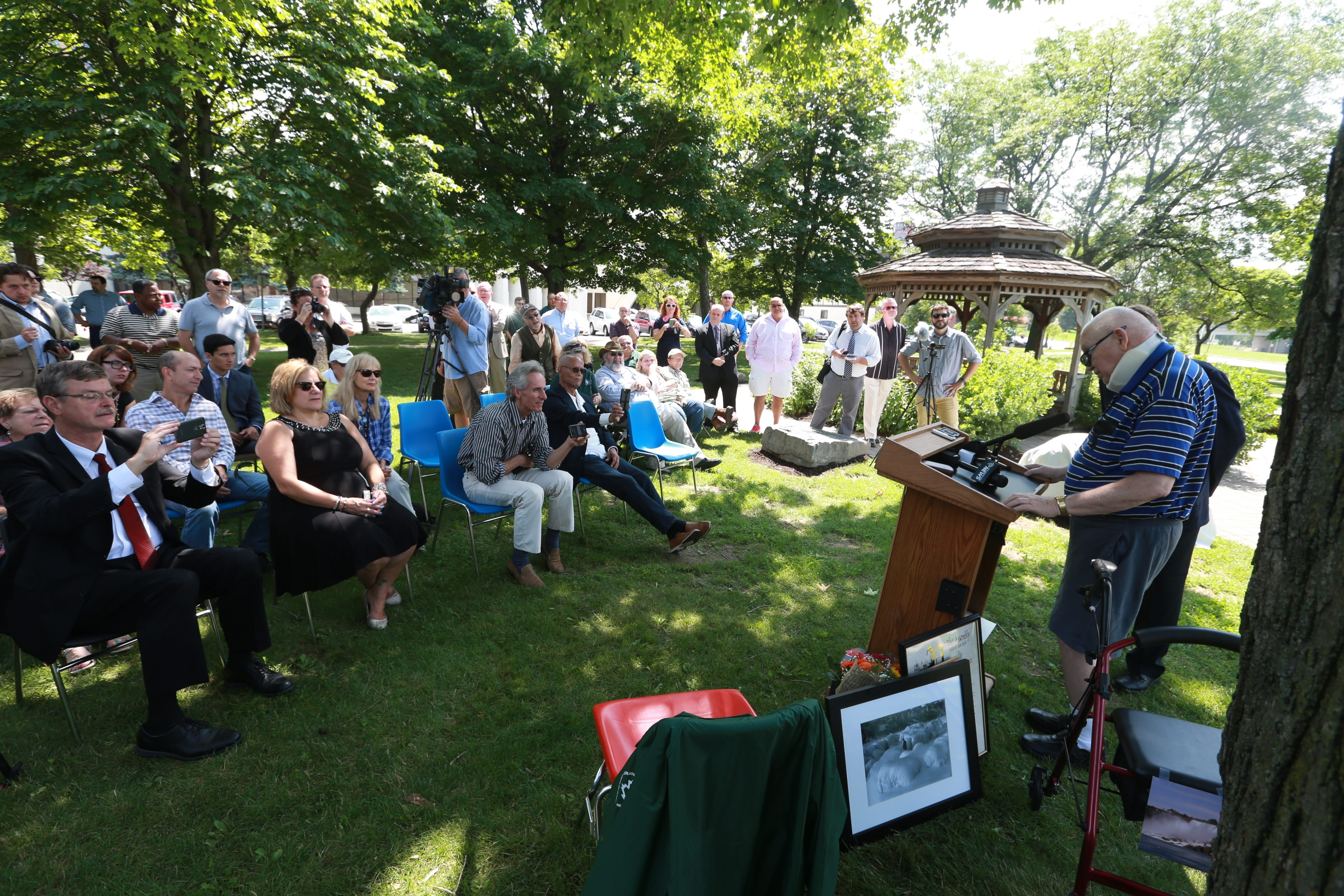 Paul Gromosiak speaks during an event honoring the longtime historian. The surprise event at Heritage Park in Niagara Falls was attended by politicians, friends and family.