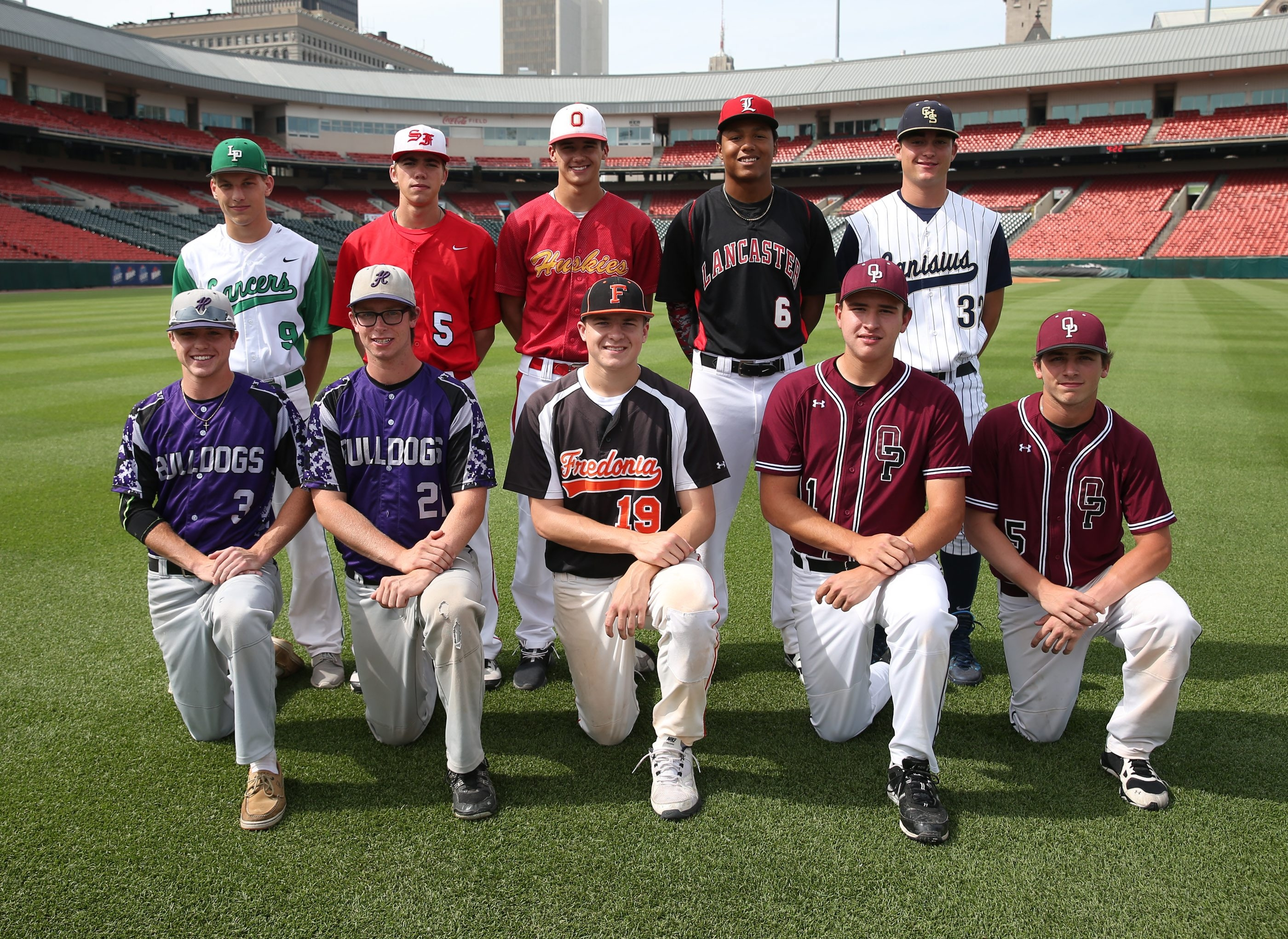 The 2015 All-Western New York team. Front row: Cameron Ringo (Hamburg), David Edie (Hamburg), Cameron Voss (Fredonia), Andrew Sipowicz (Orchard Park), Brandon Nicholson (Orchard Park).  Back row: Dawson Bailey (Lewiston-Porter), Jacob Victor (St. Francis), Evan Threehouse (Olean), Leugim Castillo (Lancaster) and Dan Dallas (Canisius). Not pictured: Nick Hamilton (Lockport).
