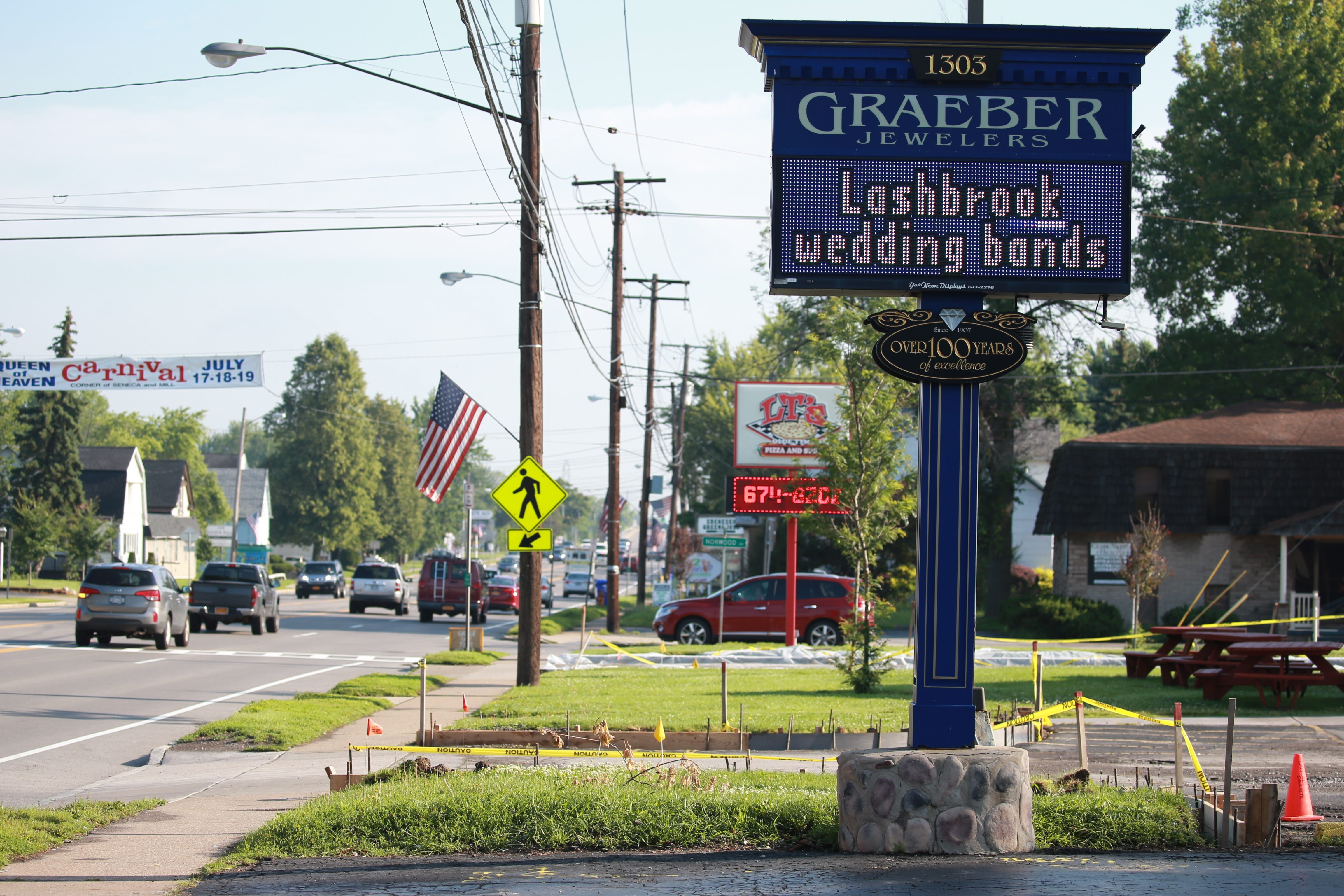 Graeber Jewelers and LT's Olde Tyme Pizza and Subs in West Seneca have digital signs. Some communities have banned them.