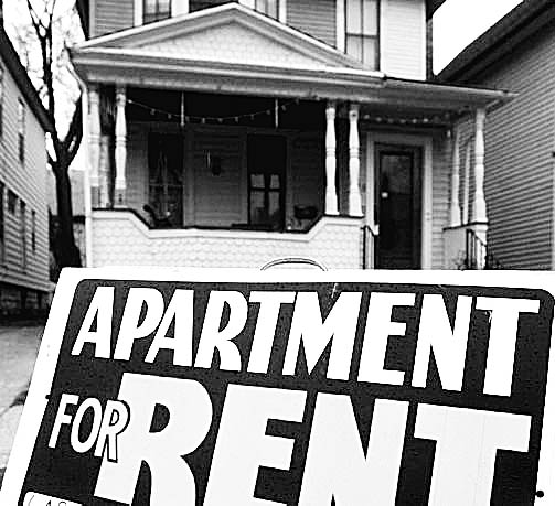 """A """"For Rent"""" sign advertises an apartment vacancy at a home on Ashland Avenue in Buffalo."""
