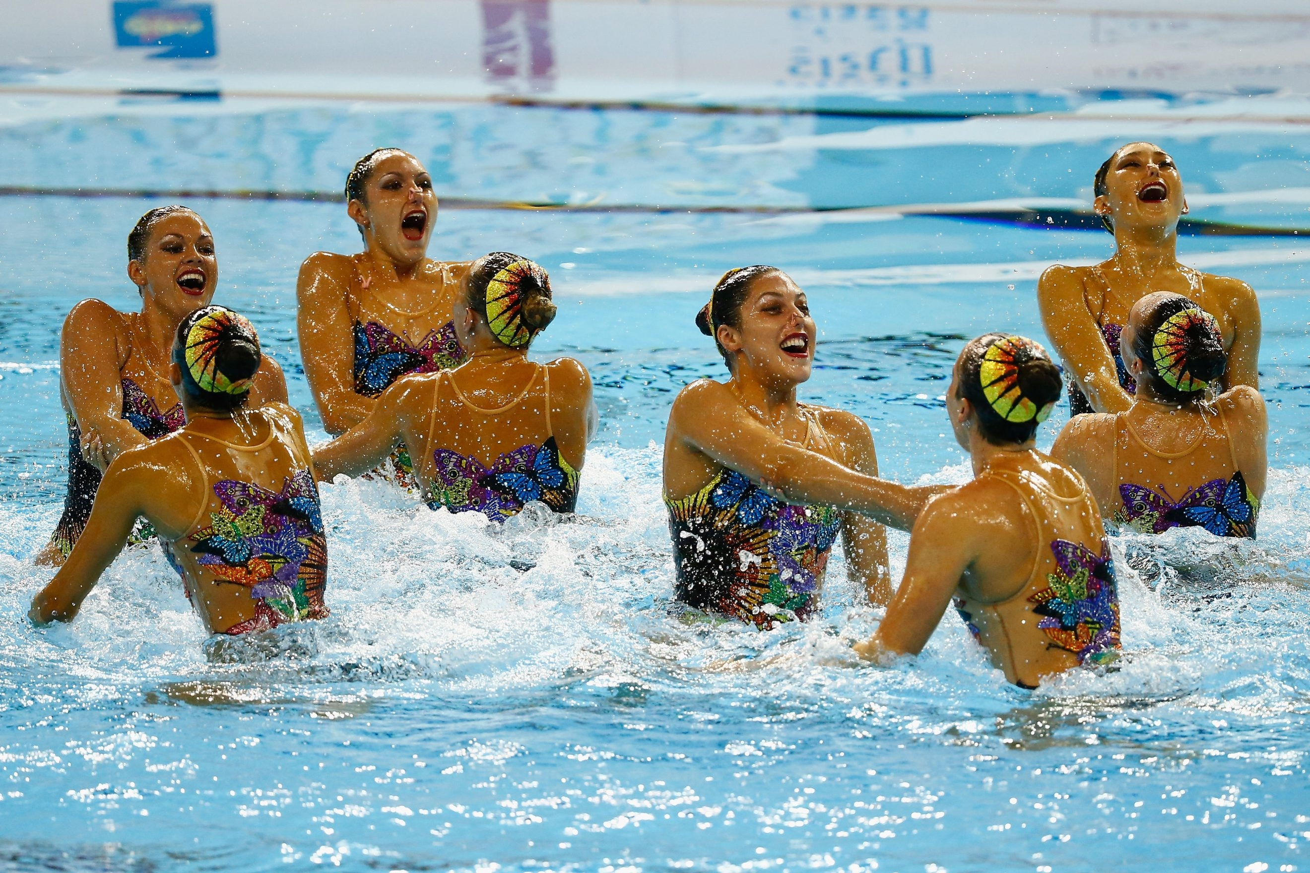 Members of Team USA compete during the synchronized swimming free final at the Pan Am Games in Toronto on Saturday.