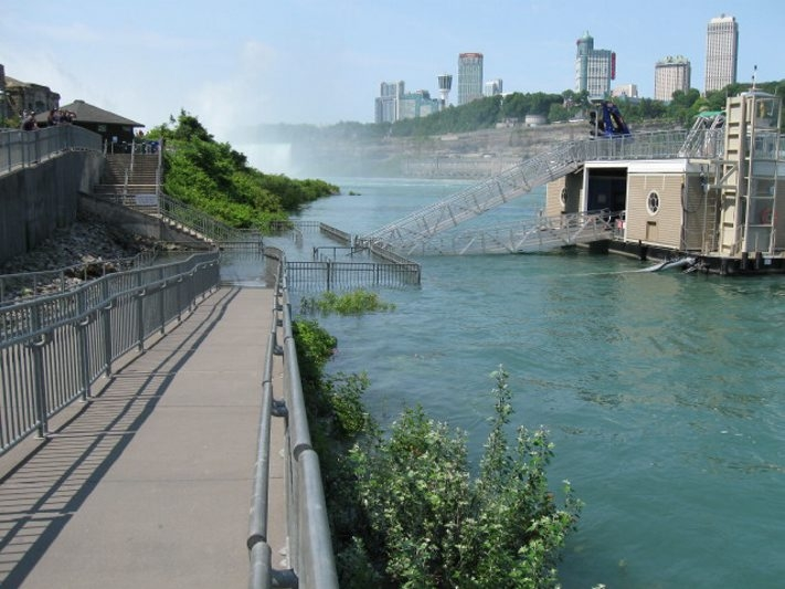 The Niagara River covers the pier where Maid of the Mist guests board the boats on Friday.