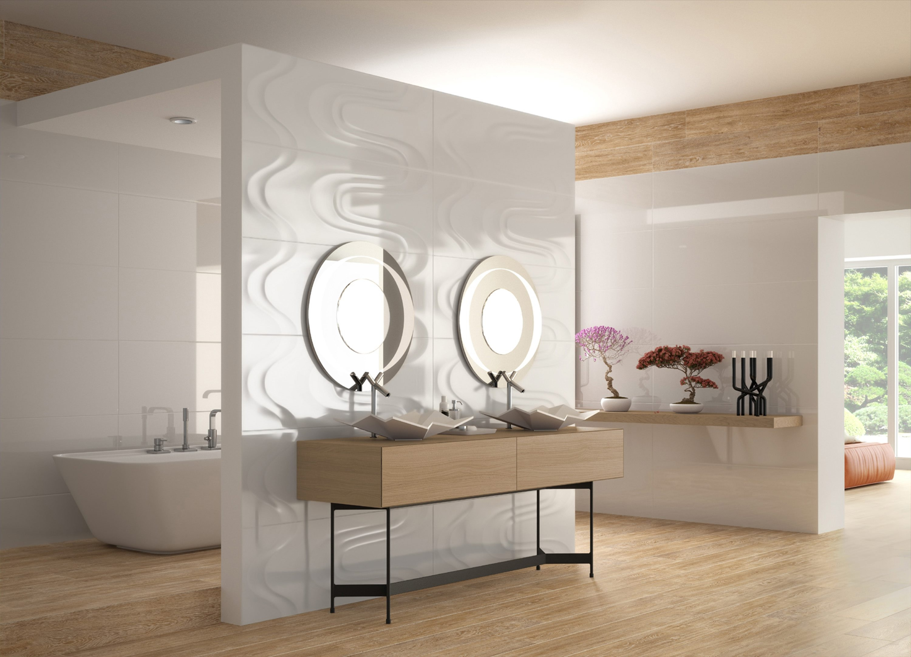 Saloni's Vantage Drip white and black tiles beg for a full wall with which to exercise their design potential.