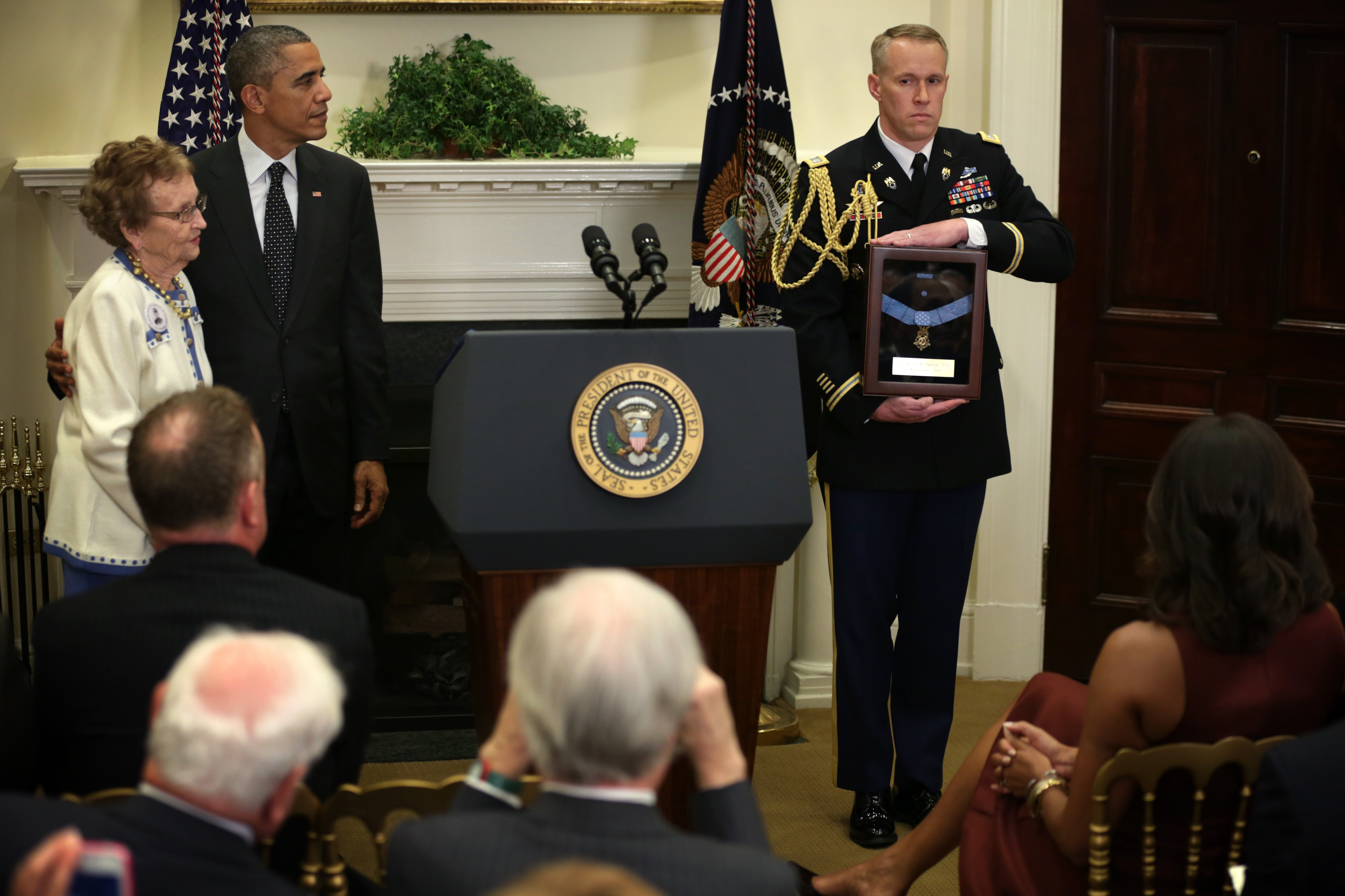 Helen Loring Ensign of Palm Desert, Calif., a descendant of Army 1st Lt. Alonzo H. Cushing, stood next to President Obama as she prepared to receive the Medal of Honor that was bestowed on Cushing at the White House last year, 152 years after his death in the Civil War.