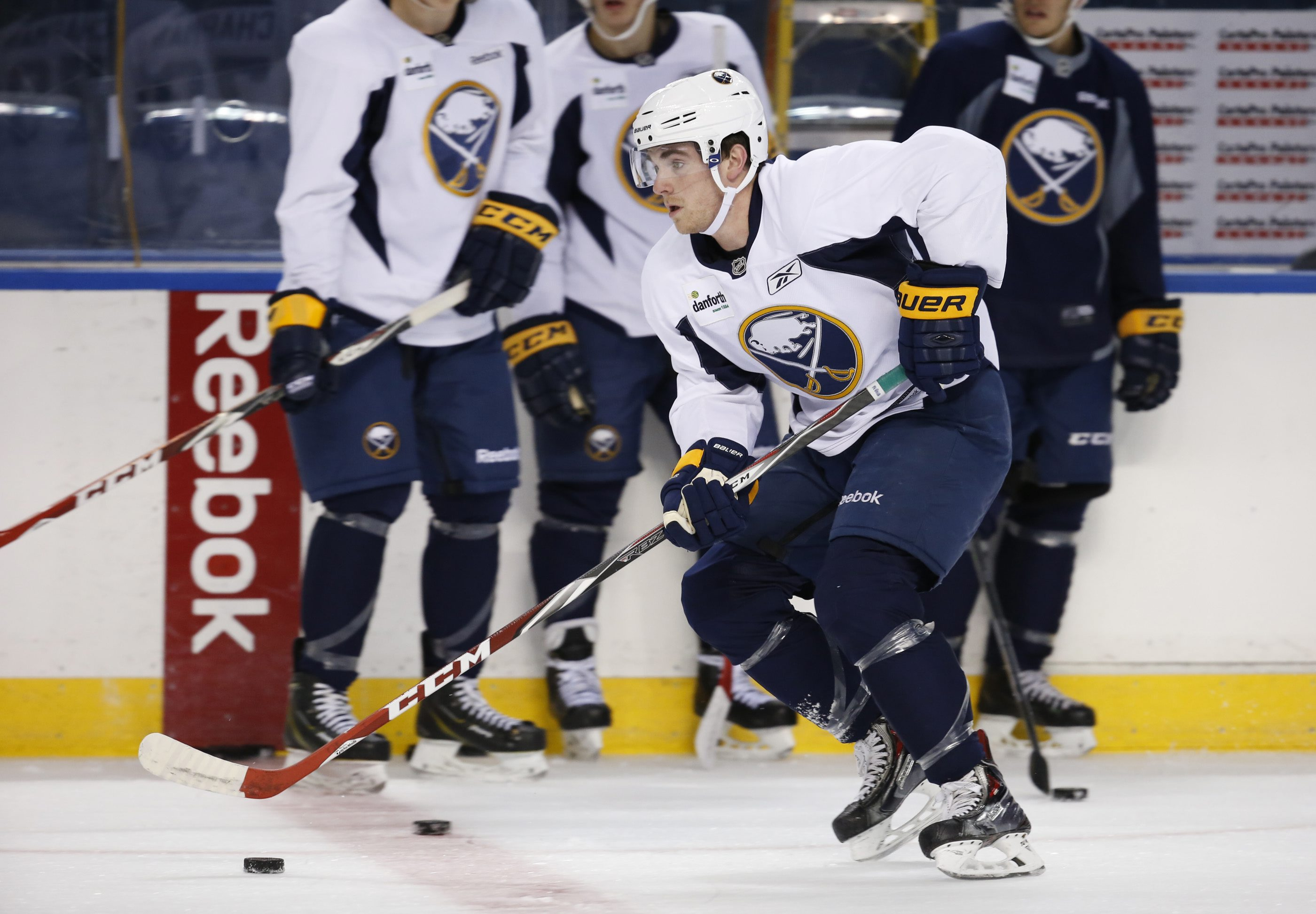 Anthony Florentino, skating at Sabres development camp, scored the first goal in Providence's win over Boston University in the NCAA championship game.