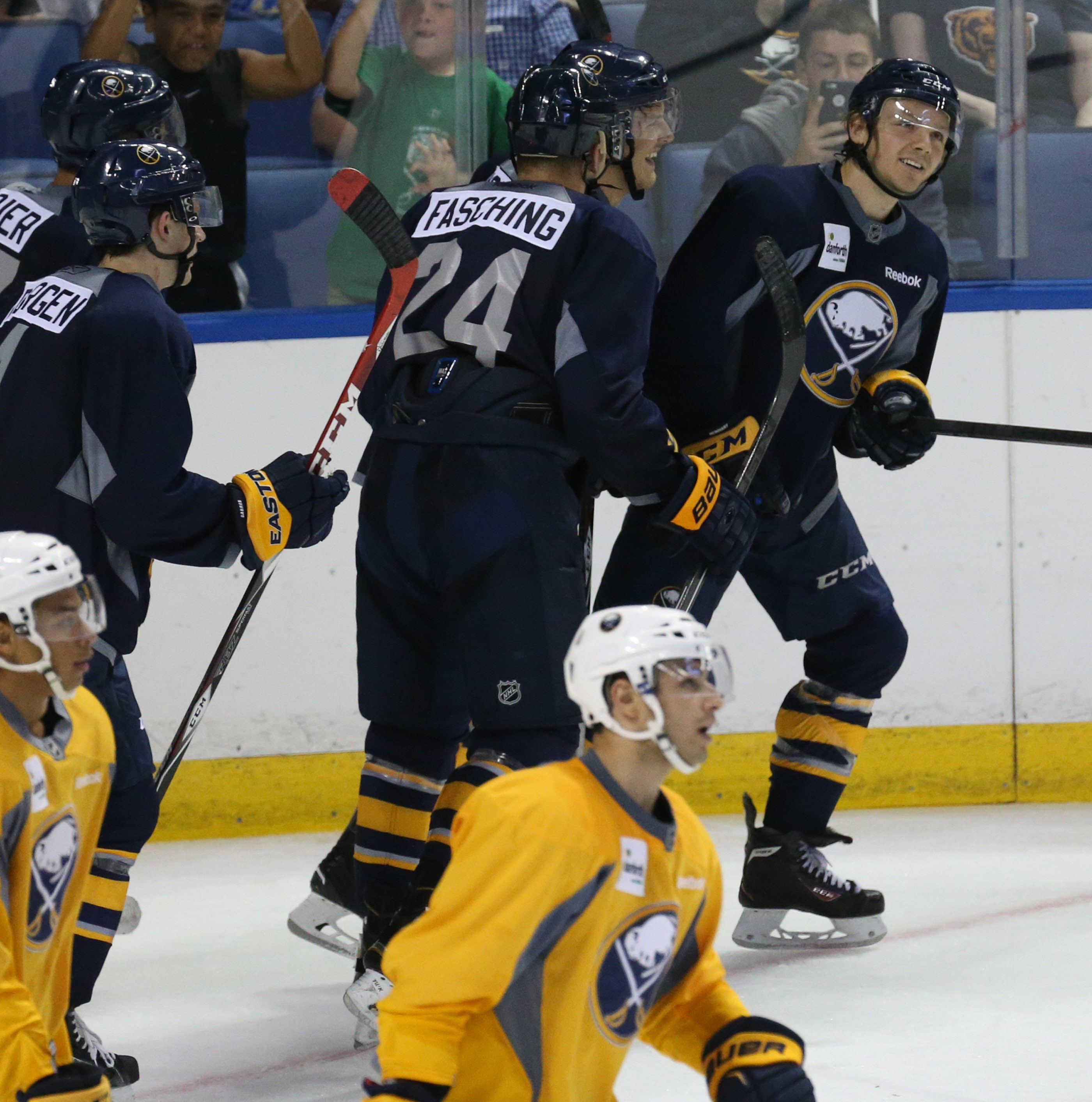 Sabres Blue's Sam Reinhart scores a goal in the second period of the Sabres' Blue and Gold Scrimmage at First Niagara Center in Buffalo on Friday.