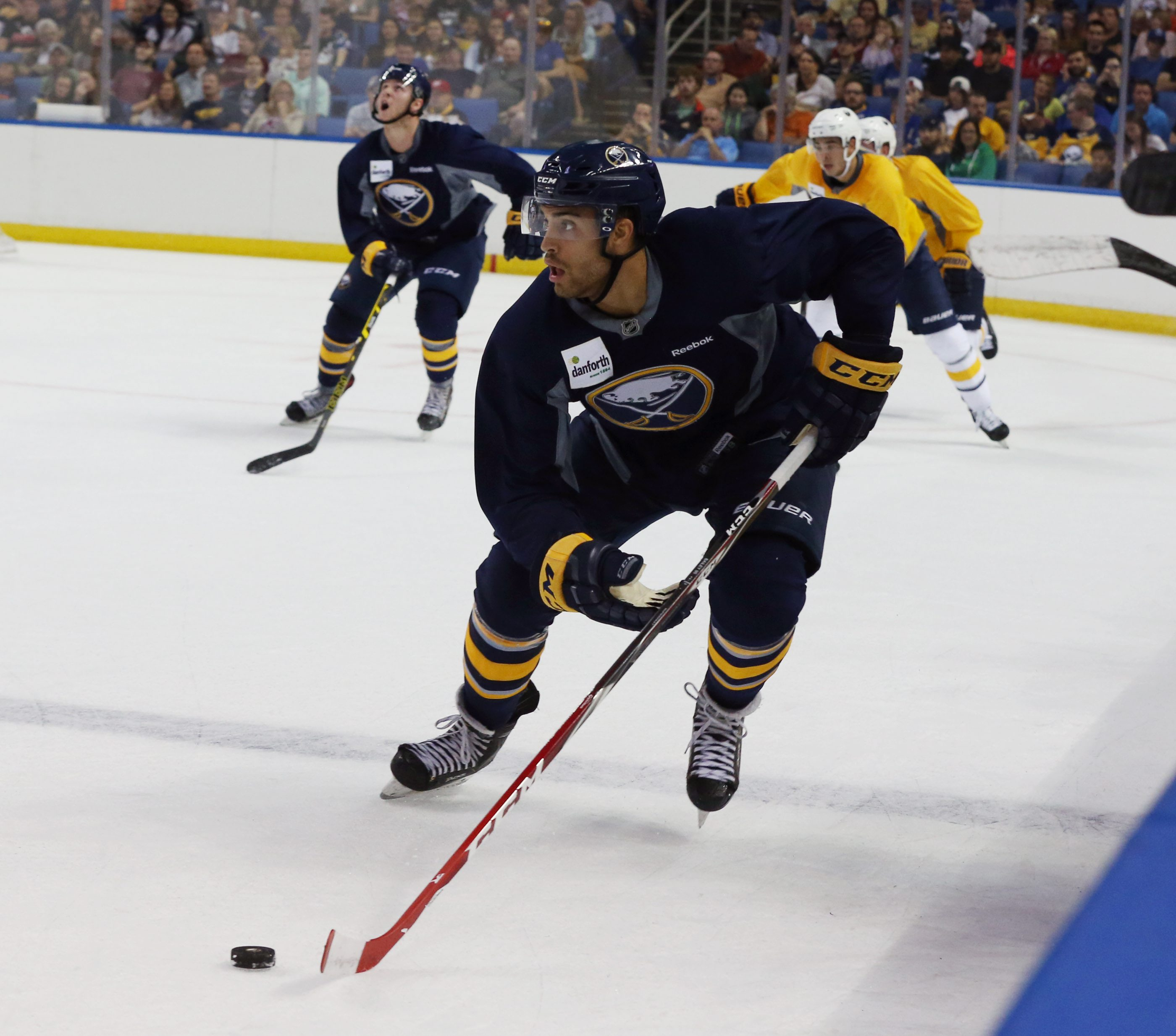 Right wing Justin Bailey scored a goal and showed high energy during Friday night's Blue and Gold scrimmage.