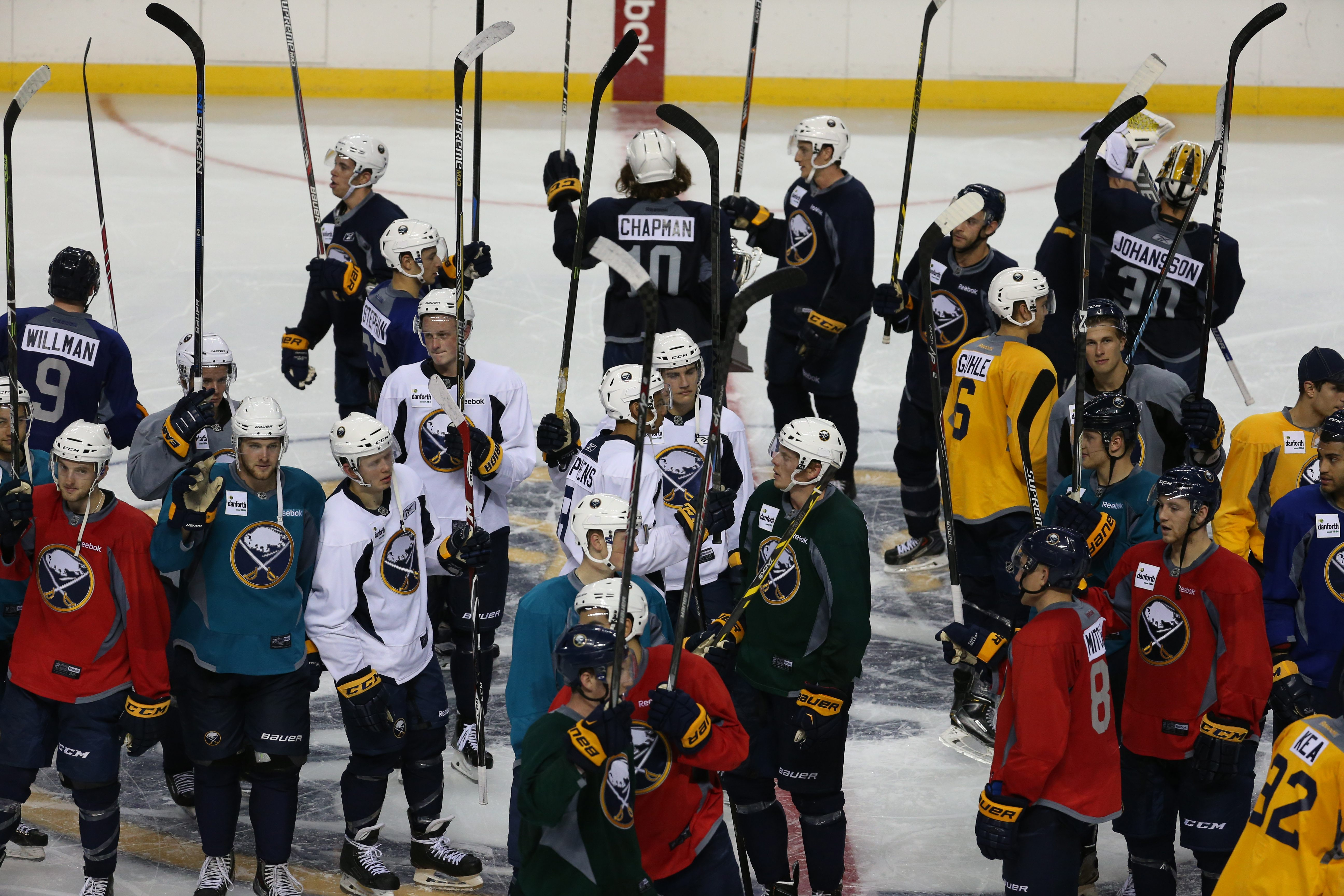 Sabres Development Camp players show their appreciation to the 1,500 fans at the end of Sunday's three-on-three tournament at First Niagara Center.