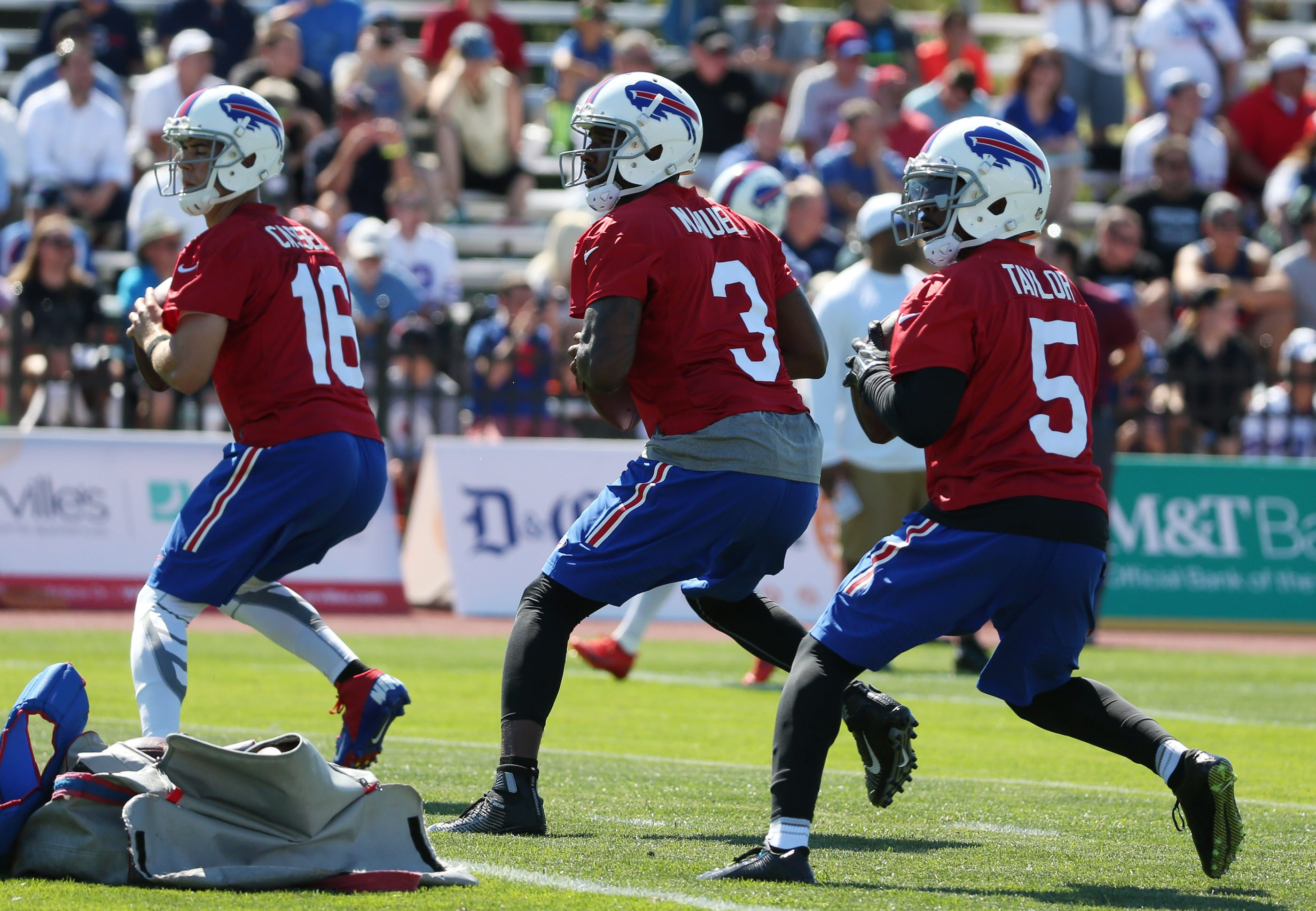 Buffalo Bills quarterbacks Matt Cassel (16), EJ Manuel (3) and Tyrod Taylor (5) practice their footwork during a drill during Friday's first day of training camp at St. John Fisher College. (James P. McCoy/ Buffalo News)