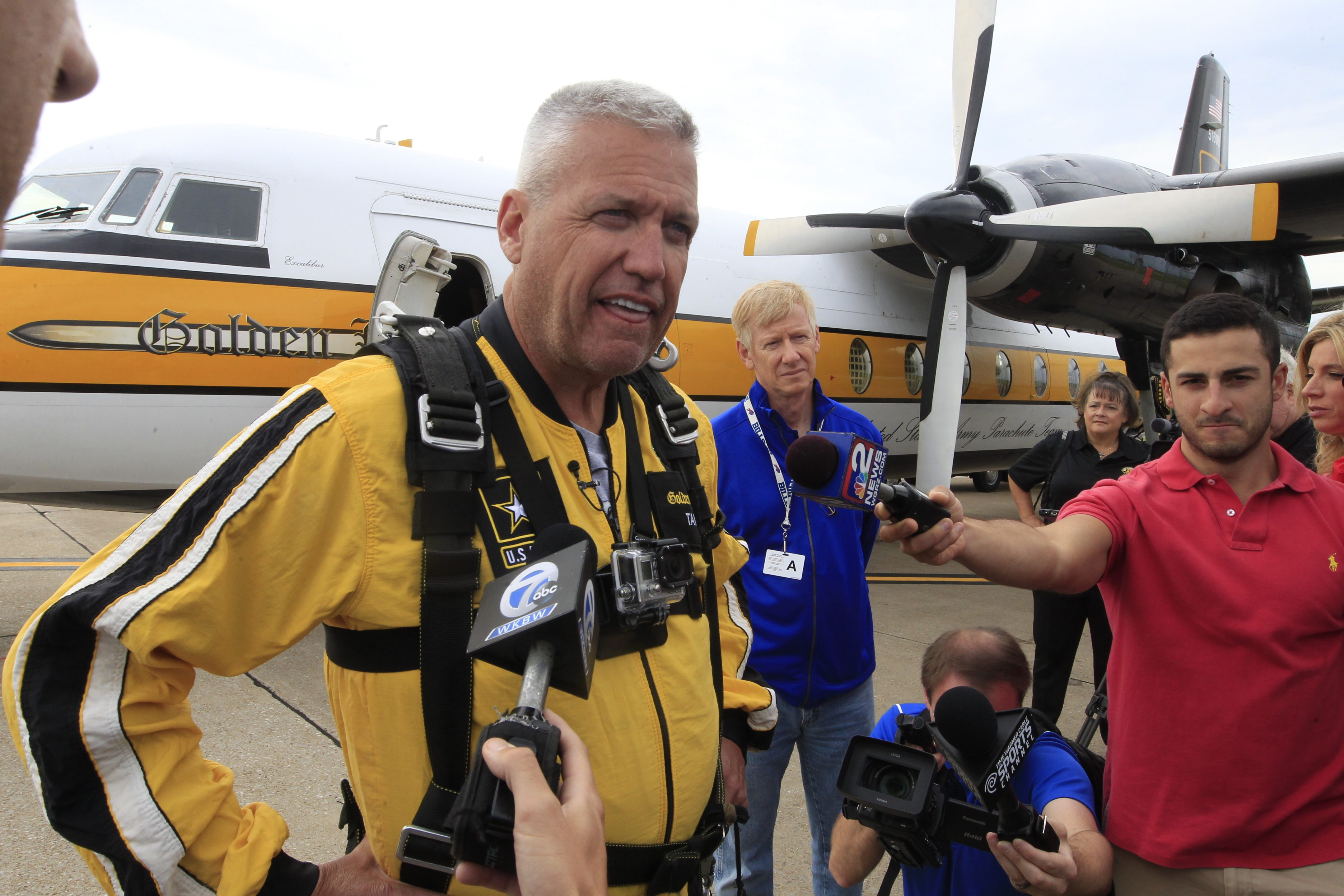 Bills coach Rex Ryan talks to the media before he participated in a tandem jump with the U.S. Army Golden Knights  at the Niagara Falls Air Base on July 17.  (John Hickey/Buffalo News)