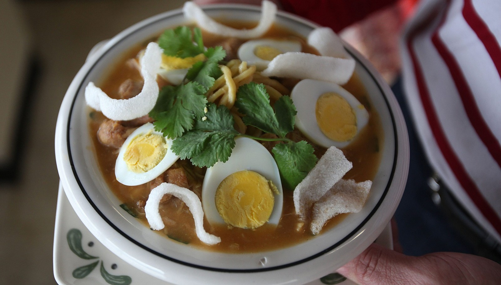 Bowl of Own No Koksware (Burmese chicken noodle soup) from Sun Restaurant. (Buffalo News file photo)
