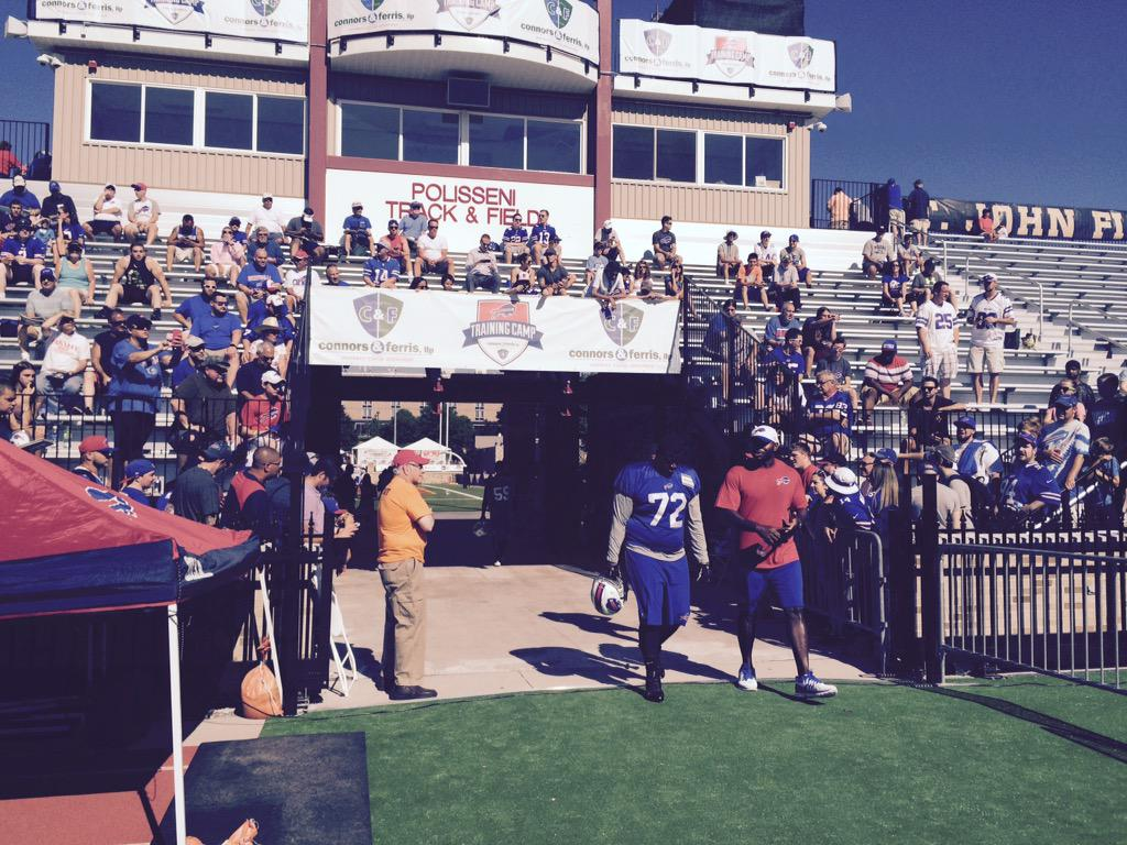 The Bills take the field to open training camp. (James P. McCoy/Buffalo News)
