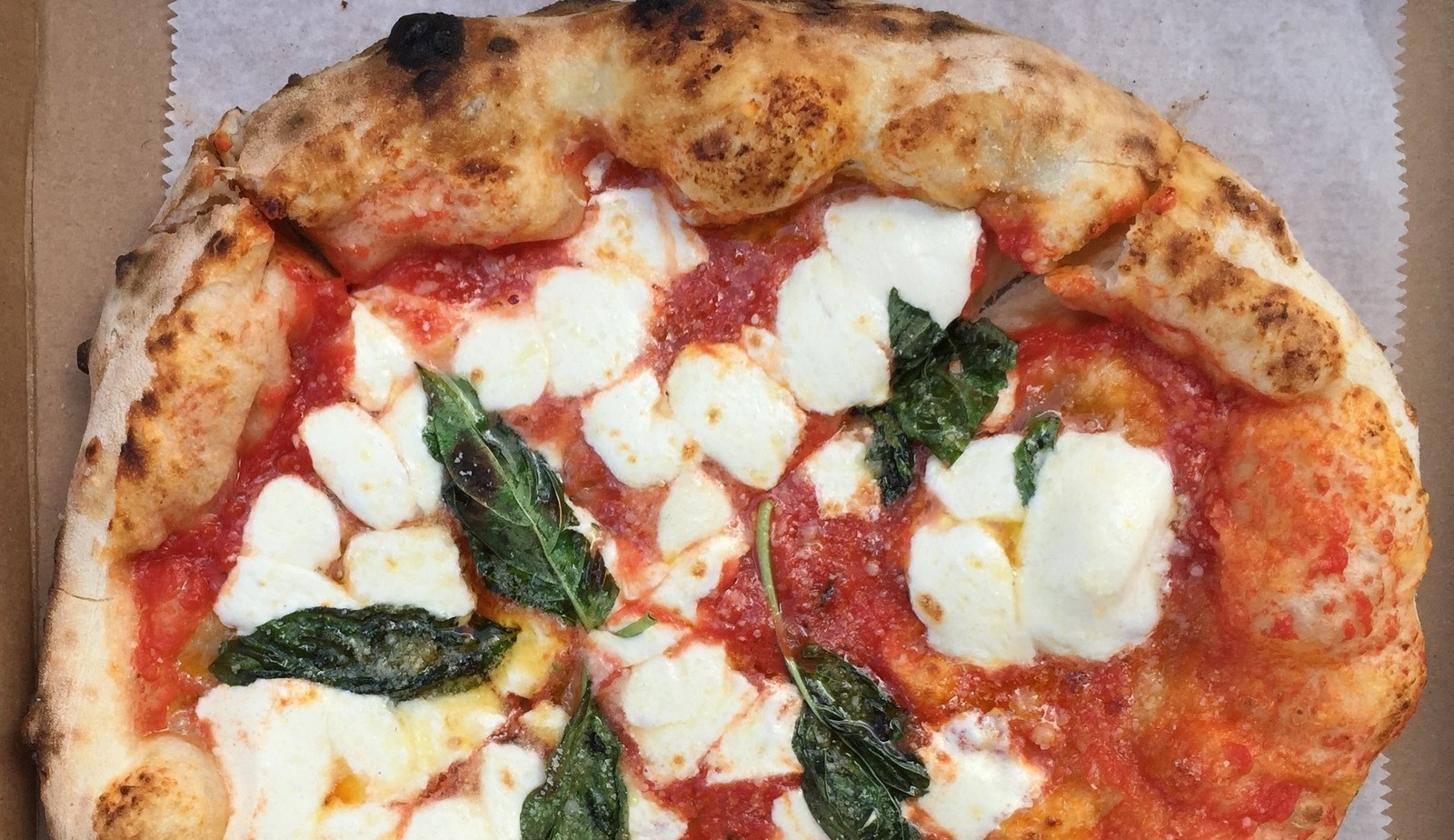Margherita pizza by O.G Wood Fire truck. (Andrew Galarneau/Buffalo News)