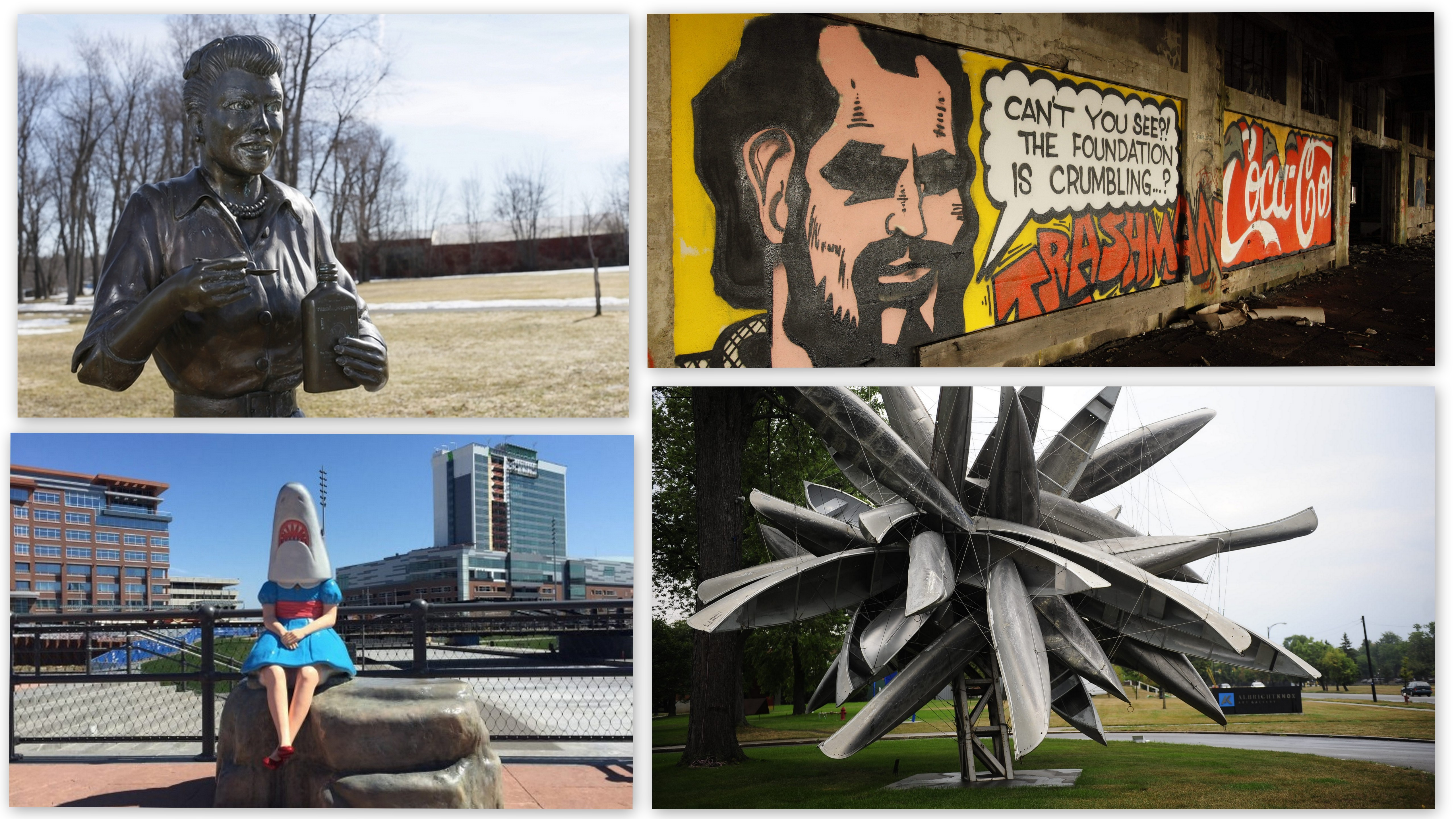 Find your way from 'Scary Lucy' to a hidden tribute to Spain Rodriguez, Nancy Rubins' exploding canoe sculpture and the popular 'Shark Girl' with The Buffalo News' public art map.