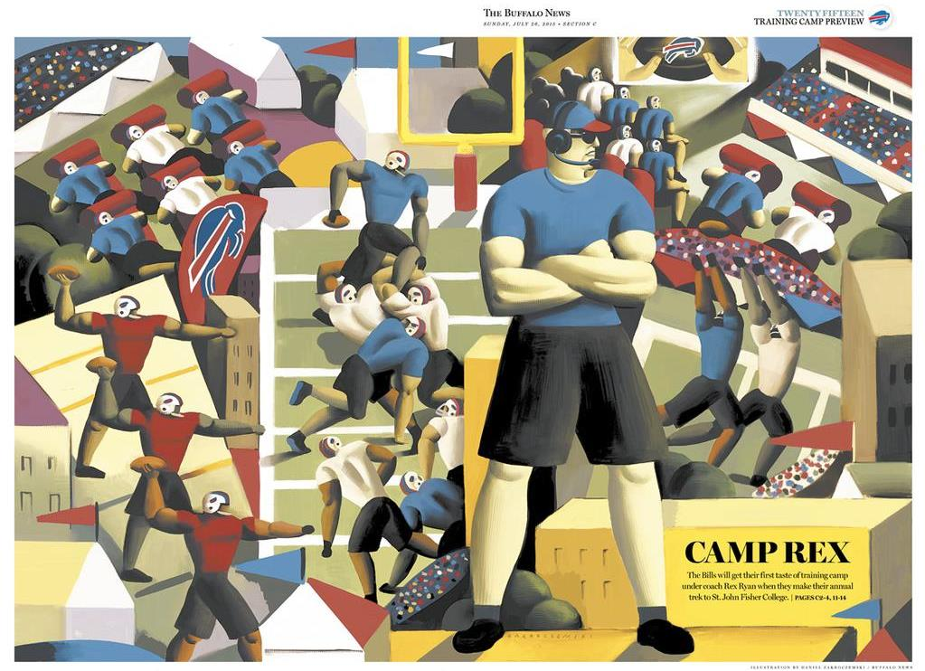 Our 2015 Training Camp preview issue cover, illustrated by The News' Daniel Zakroczemski.