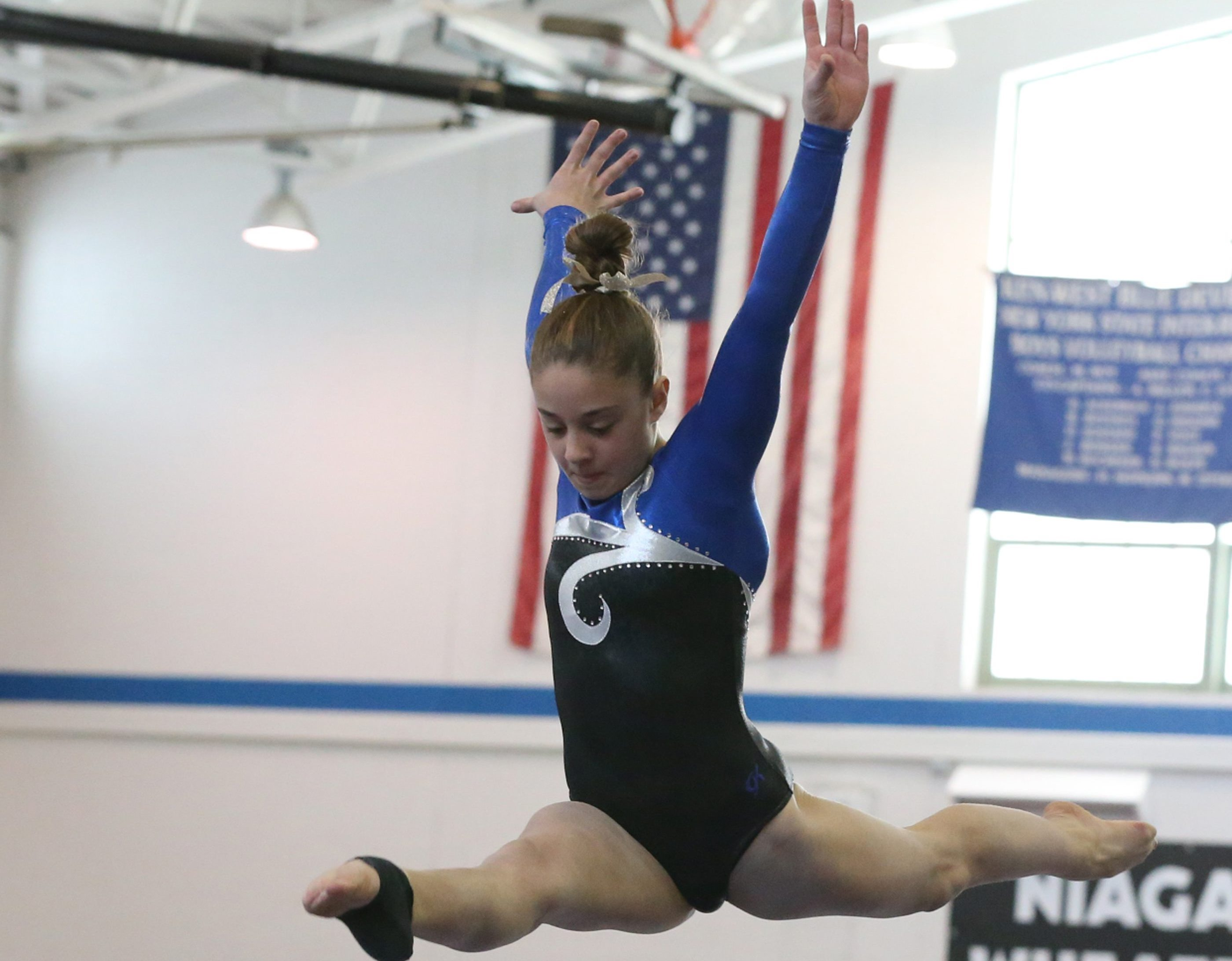 Zoe Kyriakopoulos of Williamsville North competed on the balance bean in last year's state gymnastics championships. (James P. McCoy/ Buffalo News)