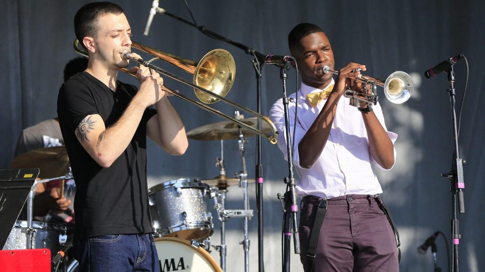 The M&T Band Rising Star Stage at the Lewiston Jazz Festival put the spotlight on young talent including the Buffalo State Student Band with Nick Torre (trombone) and Corey Talford (trumpet). (Harry Scull Jr./Buffalo News)