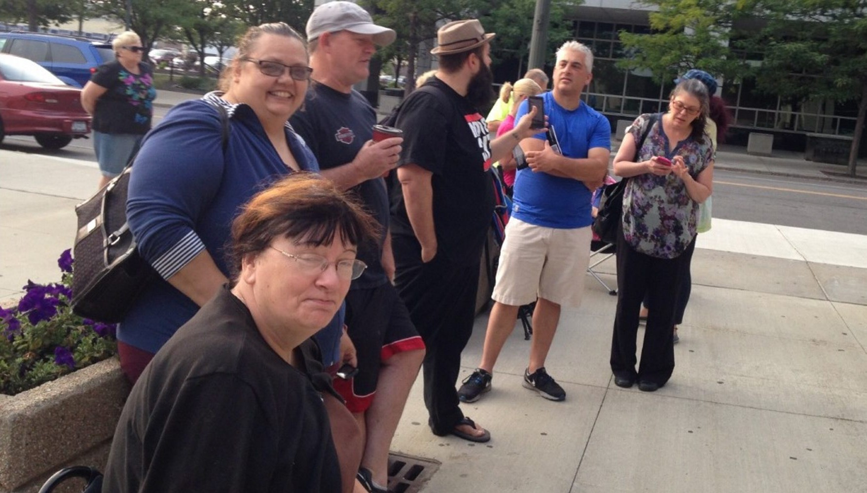 Fans wait outside First Niagara Center in hopes of getting tickets for the Paul McCartney concert. (Lou Michel/Buffalo News)
