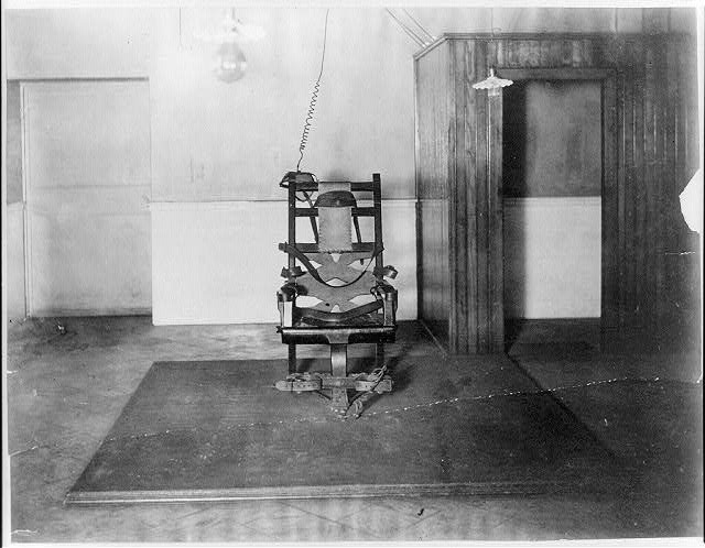 An electric chair at Sing Sing prison, pictured in 1915. (Photo courtesy of the Library of Congress)