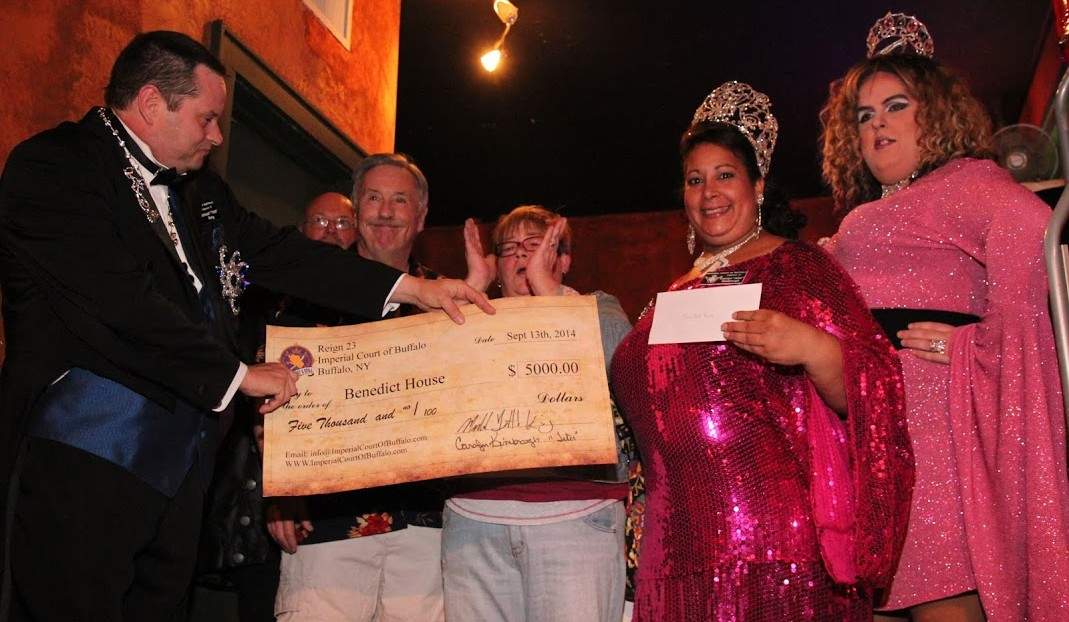 The Imperial Court of Buffalo collects money to help out LGBT community organizations.