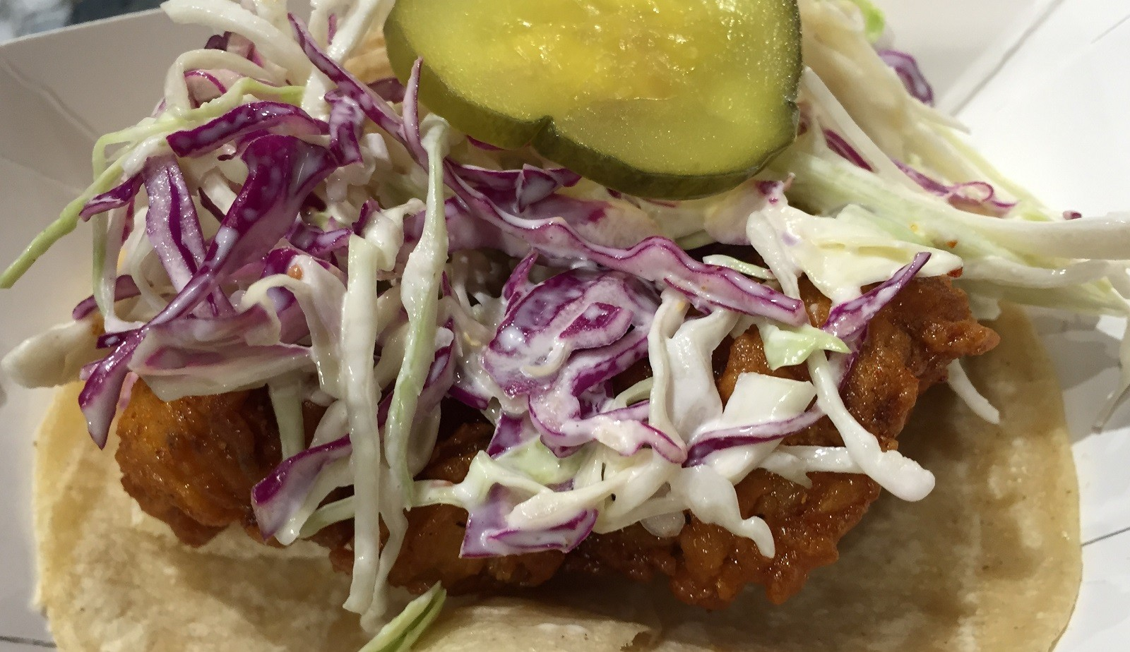 The Tennessee Hot Chicken taco from Lloyd Taco Truck, served at the truck's fifth birthday party. (Ben Tsujimoto/Buffalo News)