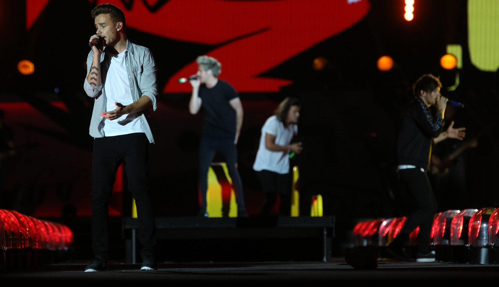 One Direction performs at Ralph Wilson Stadium in Orchard Park, Thursday, Sept. 3, 2015. On left is Liam Payne.  (Sharon Cantillon/Buffalo News)