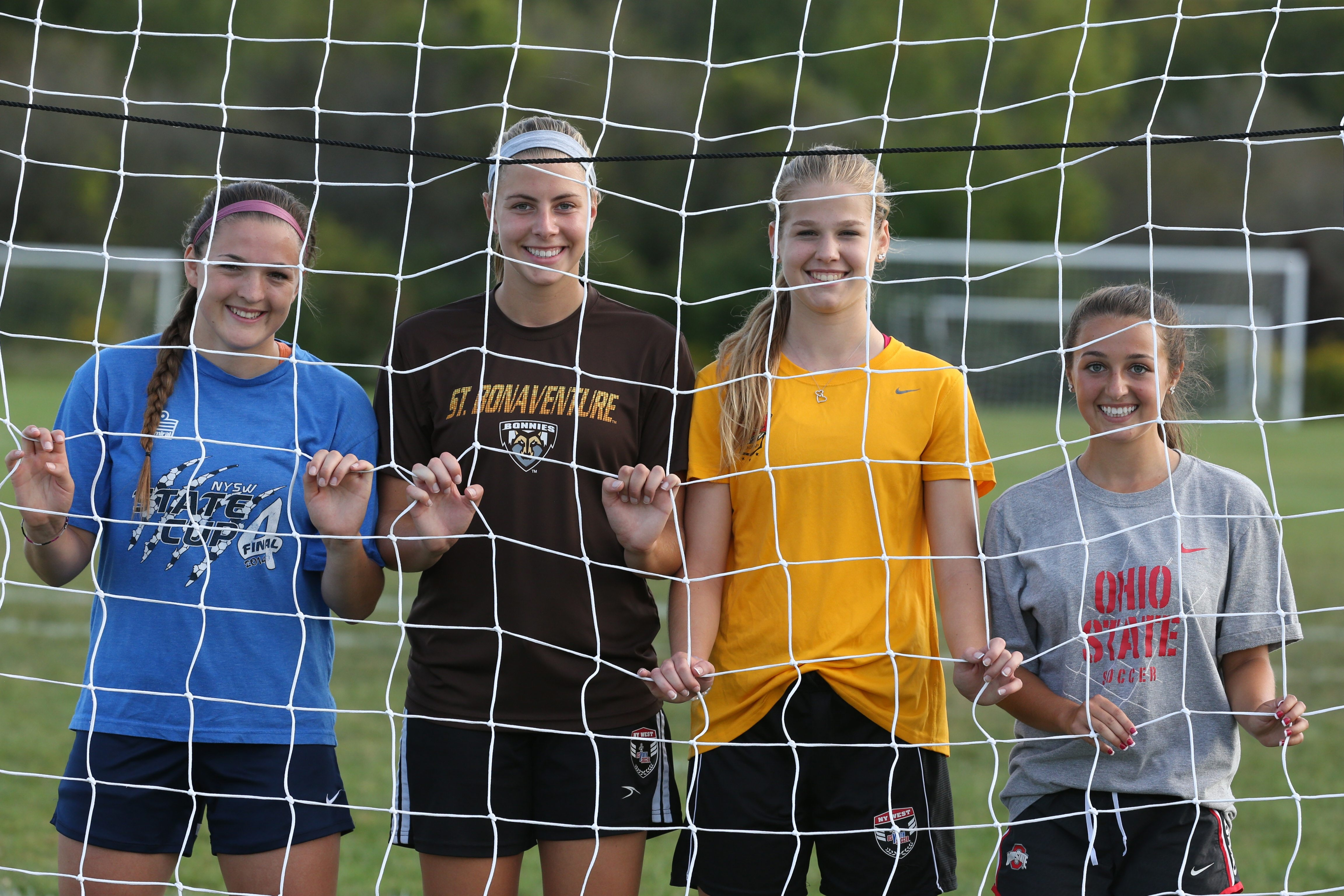 Left to right, Shannon Carr (Valparaiso), Sydney Cerza (St. Bonaventure), Hannah Spitzer (Duquesne) and Riley Bowers (Ohio State) are among Clarence soccer players who will move on to Division I college teams to play.