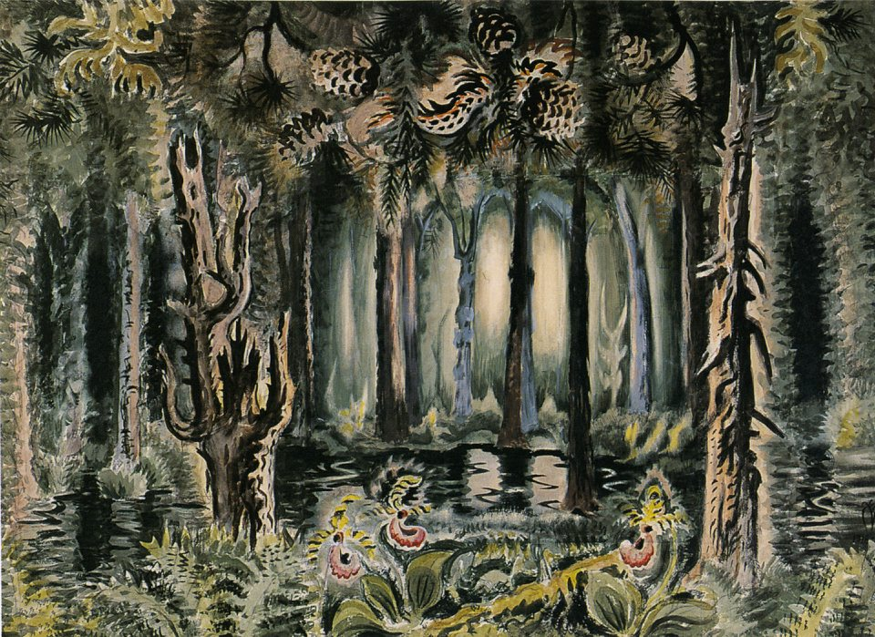 'In the Deep Woods,' a painting  Charles Burchfield worked on from 1918 to 1958, is on view in the Burchfield Penney Art Center.