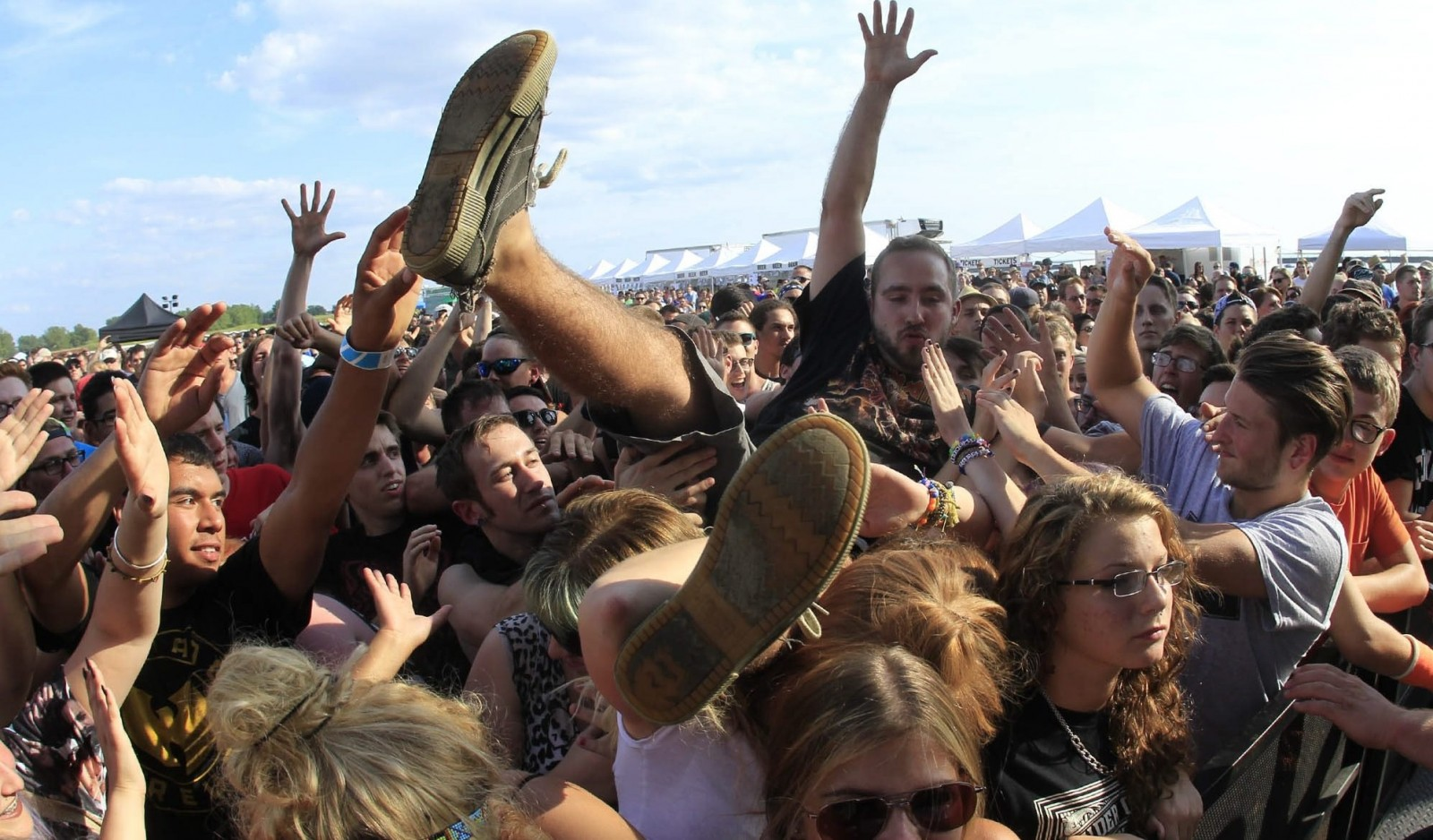 A fan surfs the crowd during last year's Edgefest at the Outer Harbor.