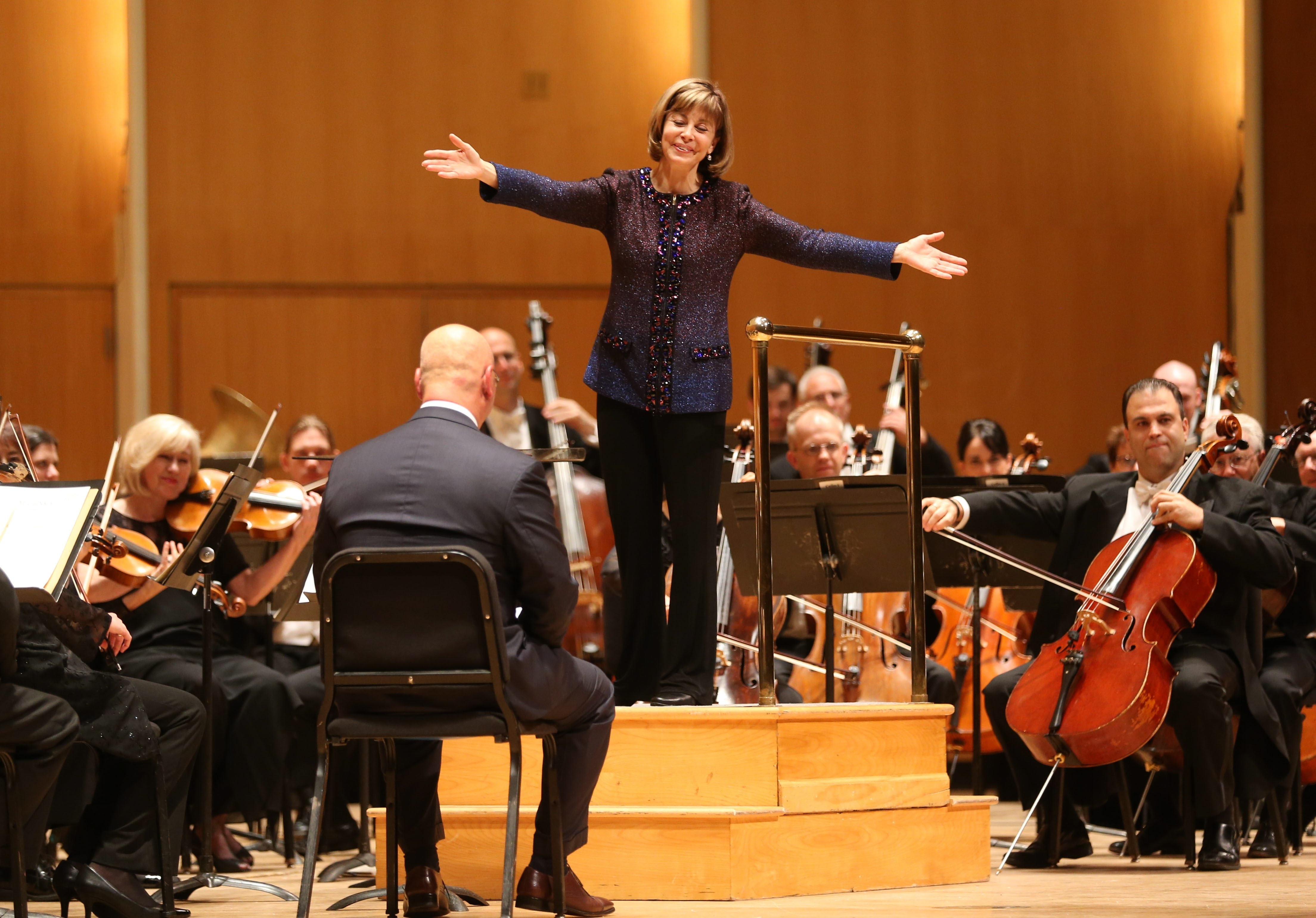 JoAnn Falletta and the Buffalo Philharmonic Orchestra on this season's opening night. (Sharon Cantillon/Buffalo News)