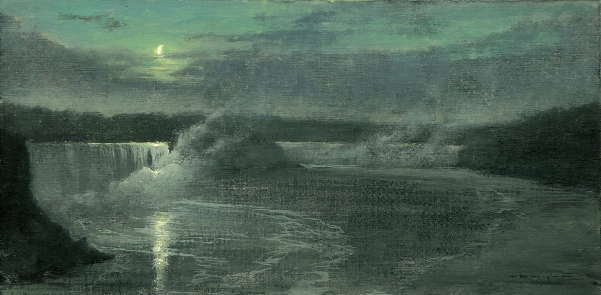 'Moon Over Niagara, Proverbs 4:18,' a painting of Niagara Falls by Thomas Kegler, is on view in Meibohm Fine Arts exhibition, 'Interludes of Light,' through Oct. 17.