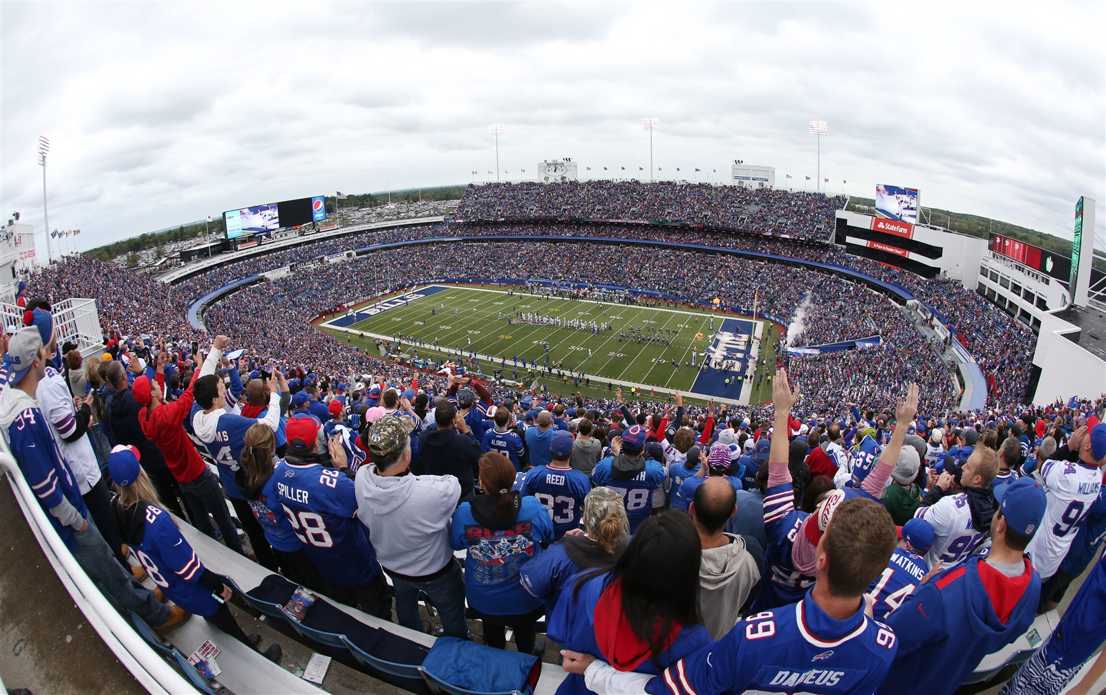The view from the crowd at Ralph Wilson Stadium in the first quarter. (James P. McCoy/Buffalo News)
