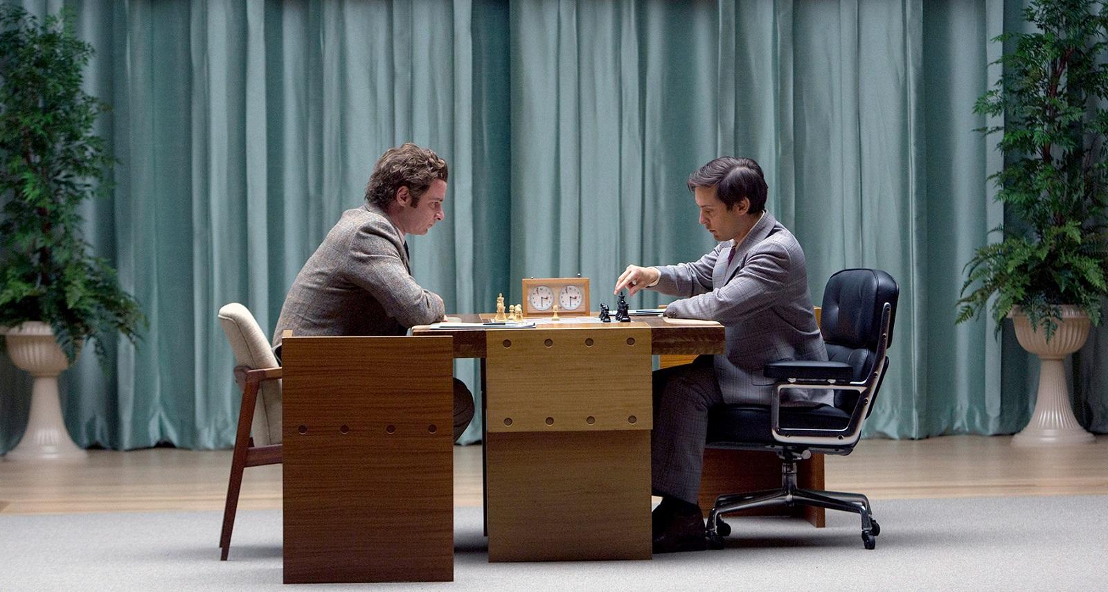 Liev Schreiber (left) is Boris Spassky and Tobey Maguire (right) is Bobby Fischer in 'Pawn Sacrifice.' (Takashi Seida/Bleecker Street Media)