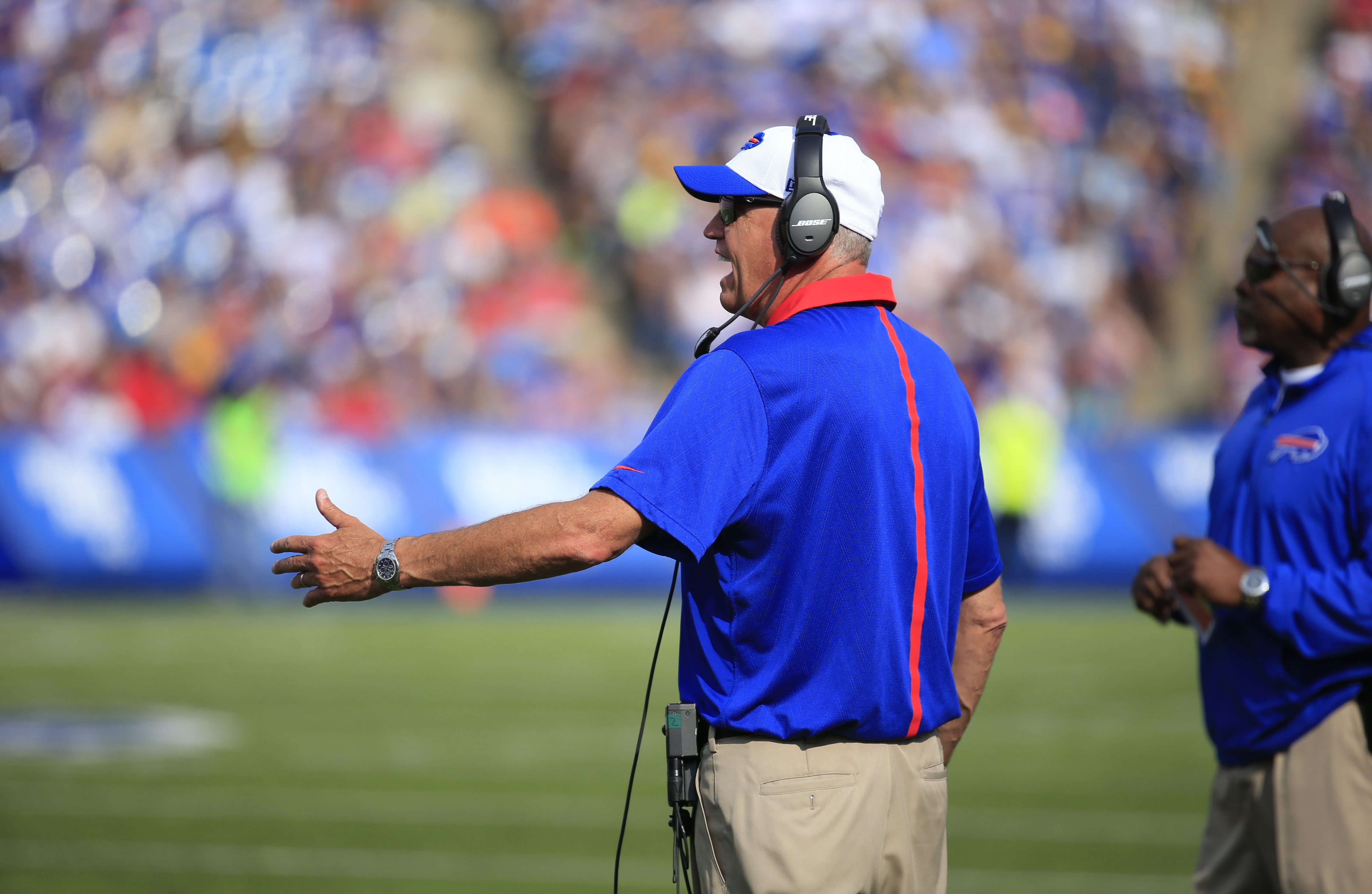 Buffalo Bills coach Rex Ryan during first half action against the Pittsburgh Steelers at Ralph Wilson Stadium on Saturday, Aug. 29, 2015.  (Harry Scull Jr./Buffalo News)