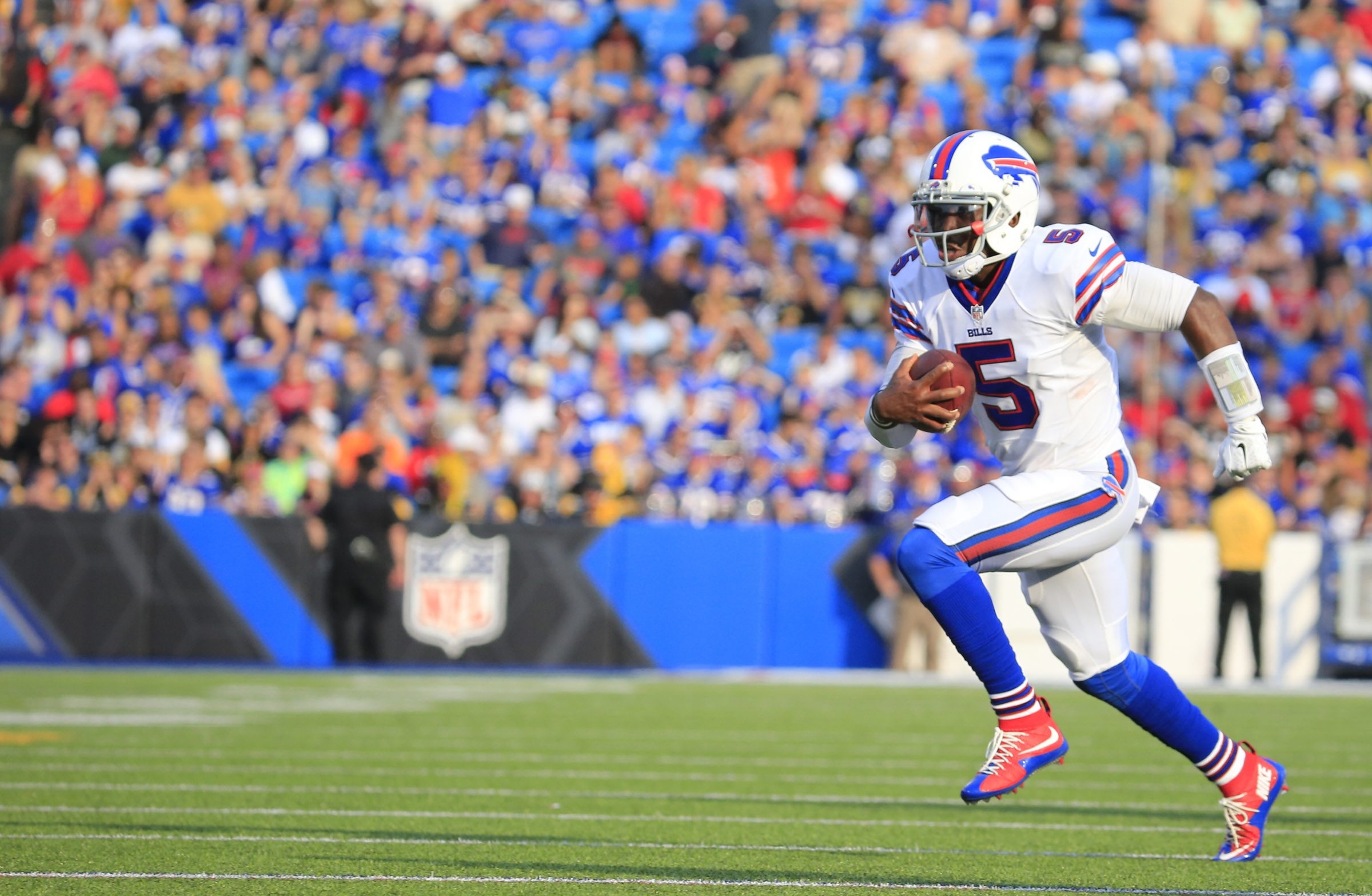 Buffalo's Tyrod Taylor runs with the ball during second-half action against the Pittsburgh Steelers at Ralph WIlson Stadium on Aug. 29. (Harry Scull Jr./Buffalo News)