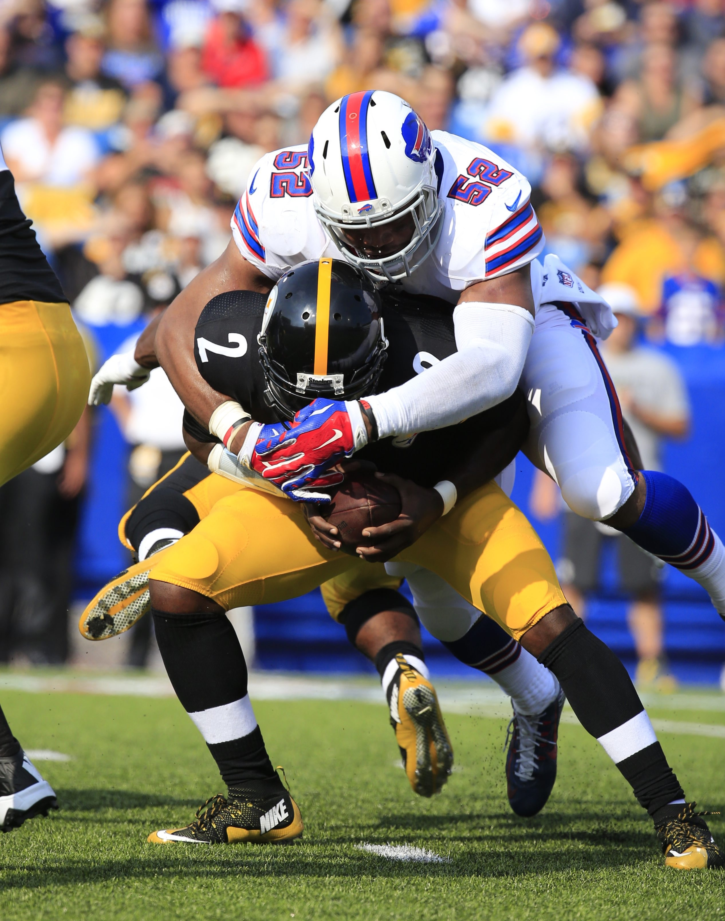 Buffalo Bills Preston Brown during first half action against the Pittsburgh Steelers at Ralph WIlson Stadium on Saturday, Aug. 29, 2015.  (Harry Scull Jr./Buffalo News)