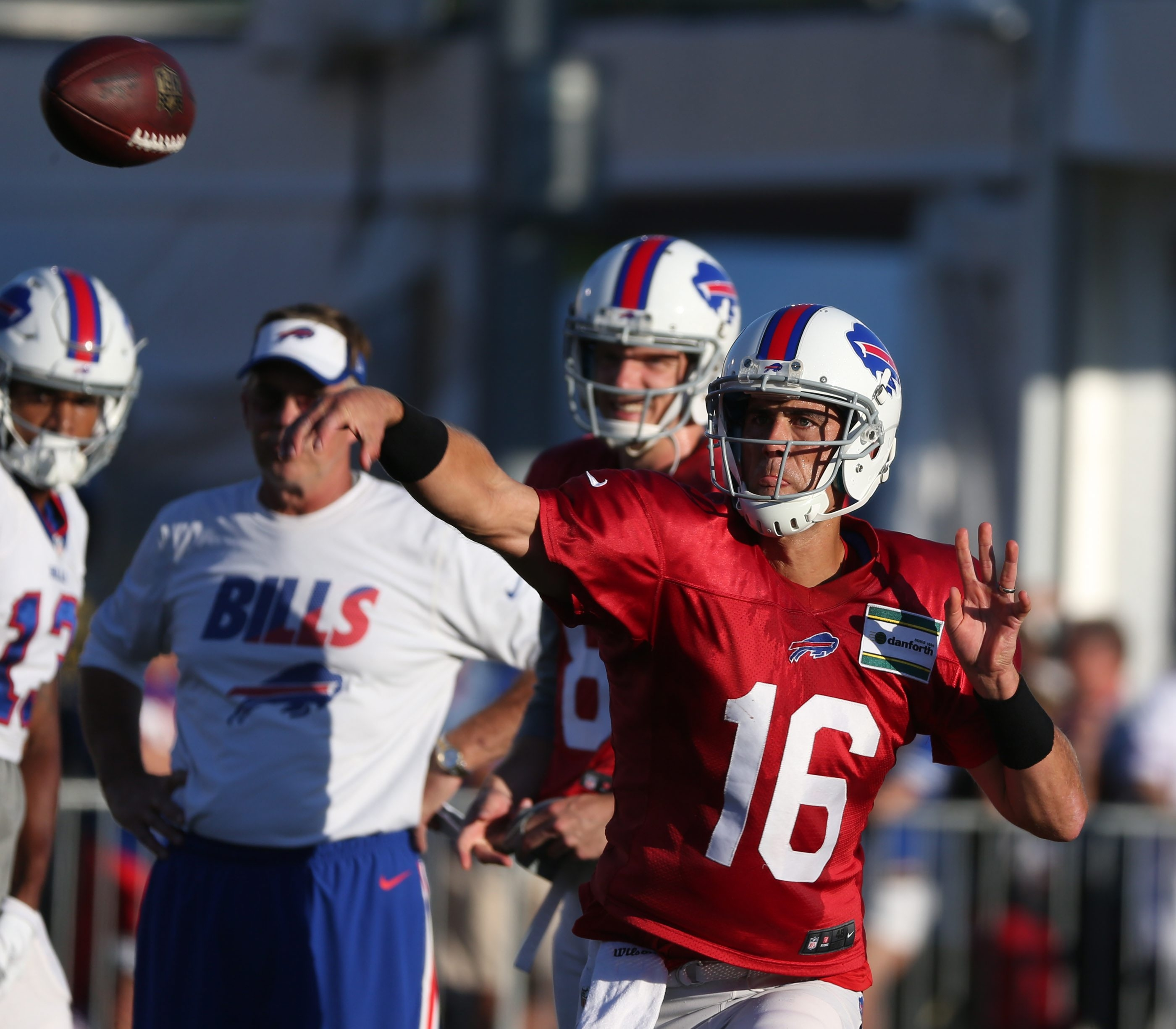 Buffalo Bills quarterback Matt Cassel (16) throws a pass in the end zone during practice tonight at St. John Fisher College in Pittsford,NY on Sunday, Aug. 23, 2015.  (James P. McCoy/ Buffalo News)