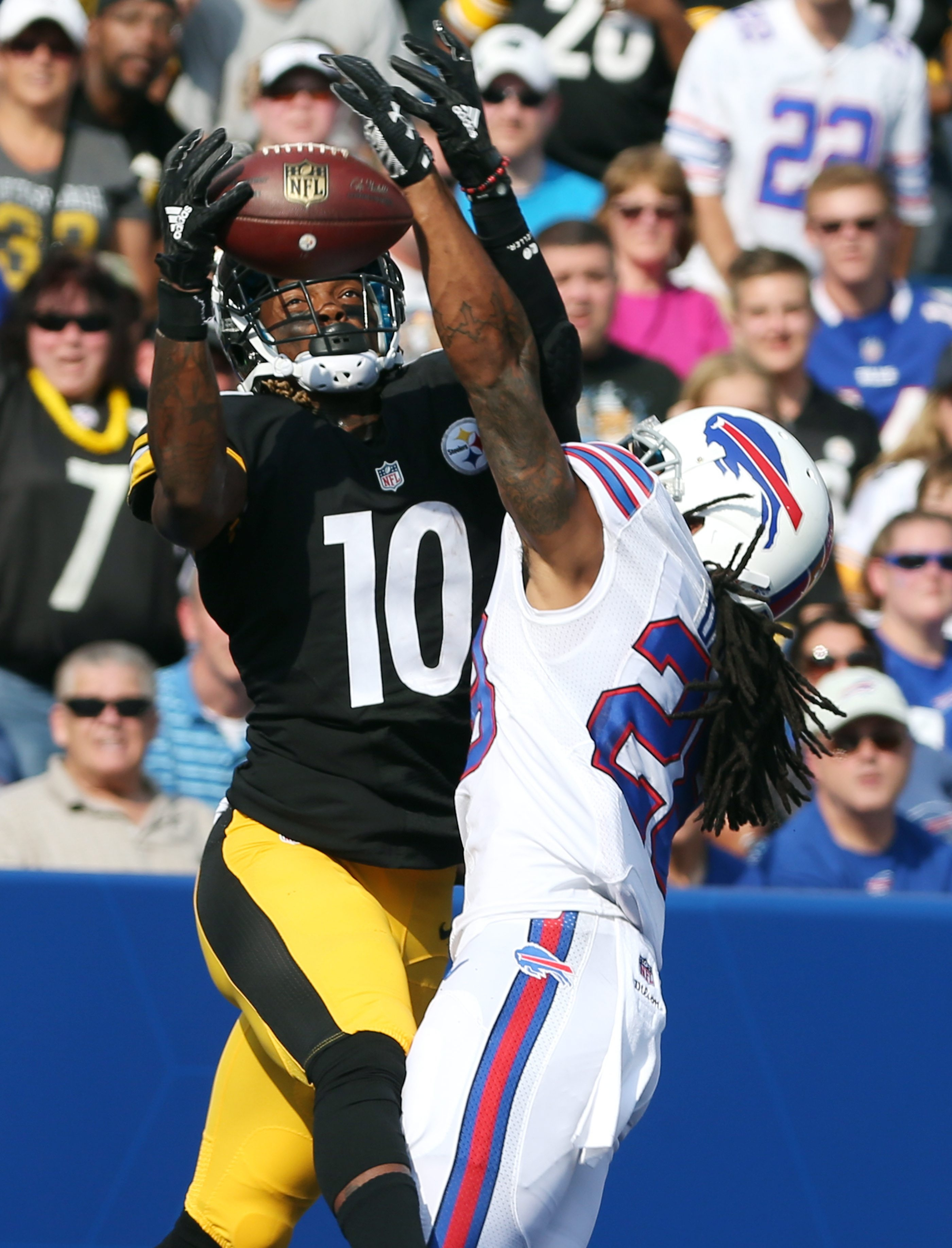 Bills cornerback Ronald Darby gets flagged for pass interference in the third preseason game against the Steelers, a game he struggled in.
