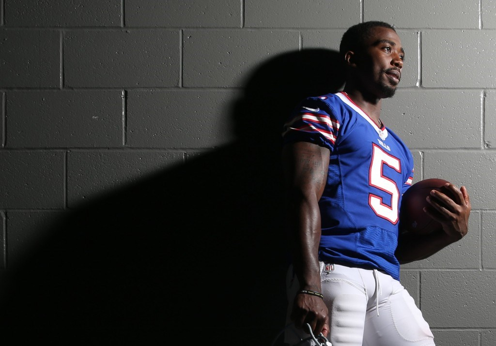 Buffalo Bills quarterback Tyrod Taylor poses for a Sunday cover story after practice Wednesday.  (James P. McCoy/ Buffalo News)